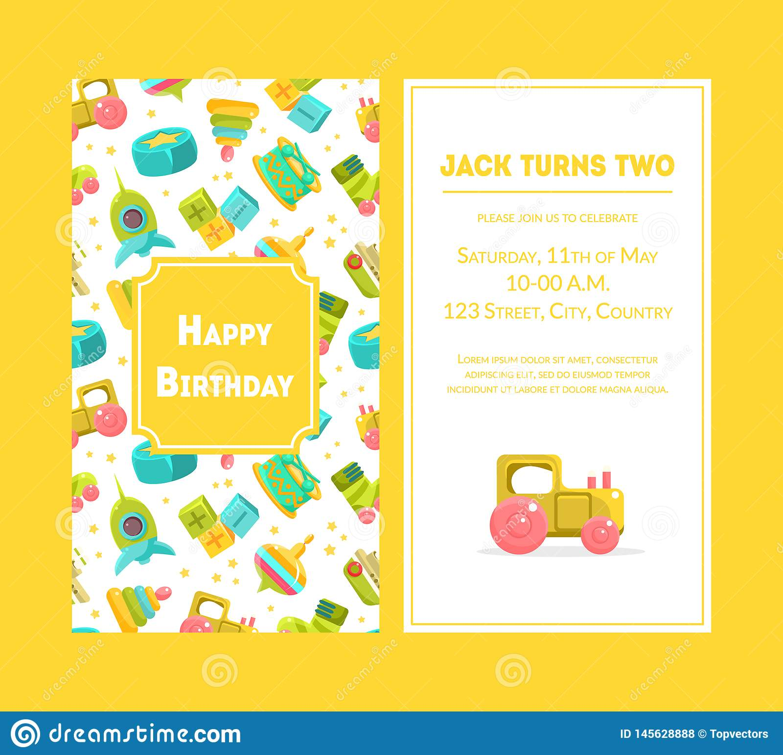 Happy Birthday Greeting Card, Yellow Party Invitation