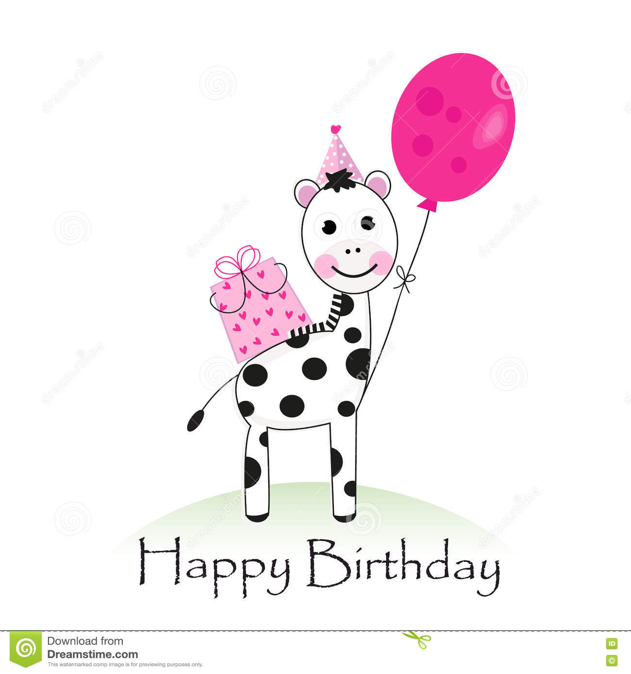Happy Birthday Greeting Card With Zebra Vector Stock