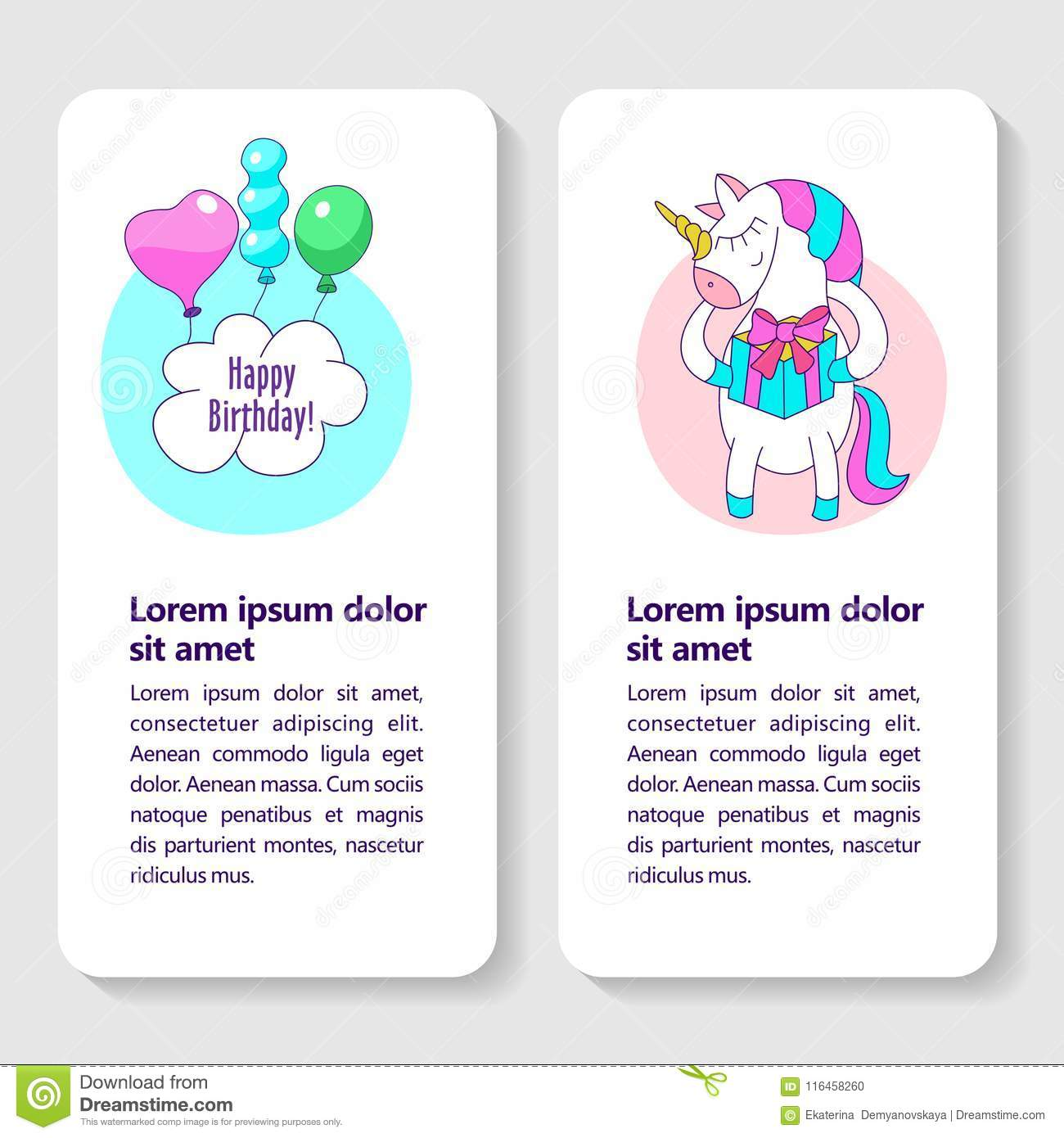 Happy Birthday Greeting Cards With Cute Magic Unicorn That Holds A