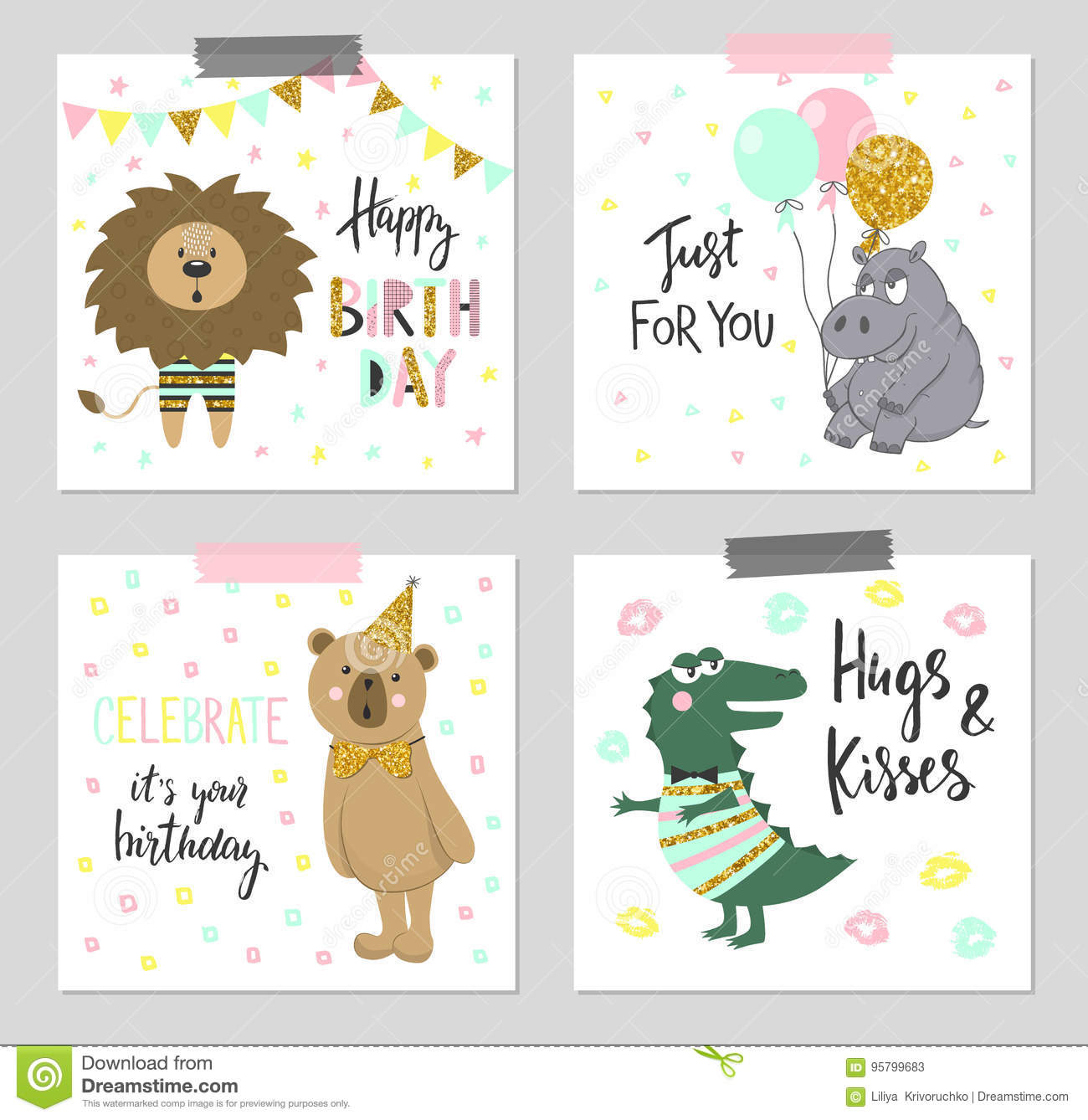 Happy birthday greeting cards and party invitation templates with cute animals.