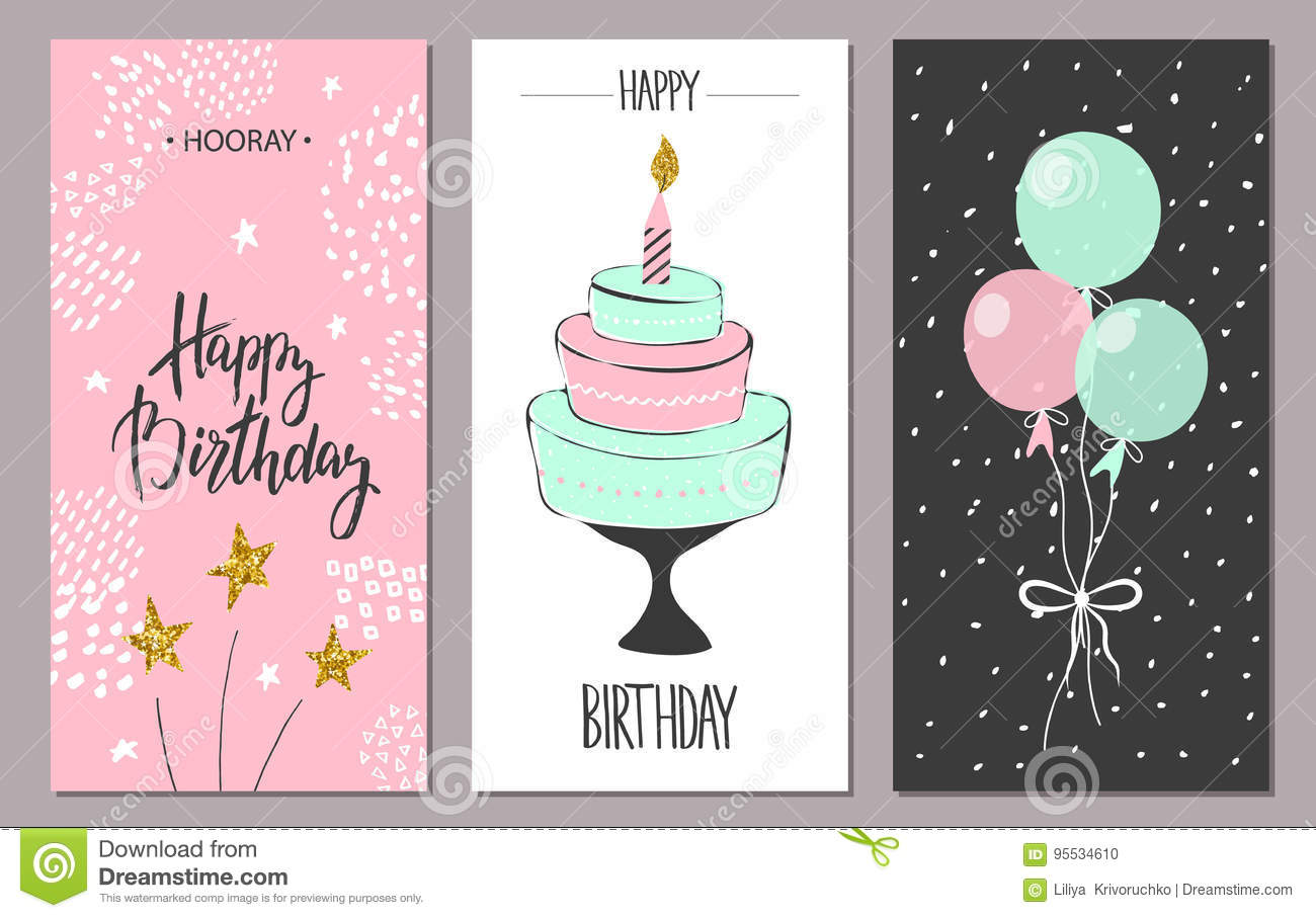 Happy birthday greeting cards and party invitation templates, illustration. Hand drawn style.