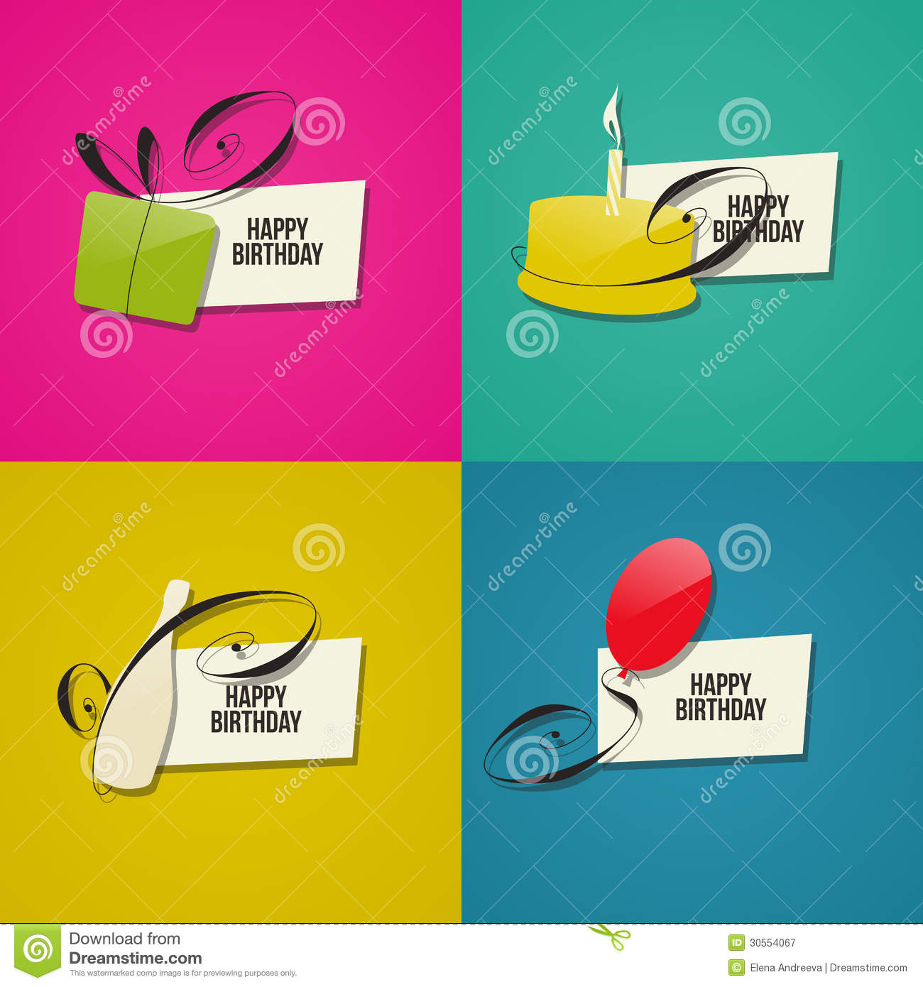 Happy Birthday Greeting Cards Stock Vector Illustration Of Copy