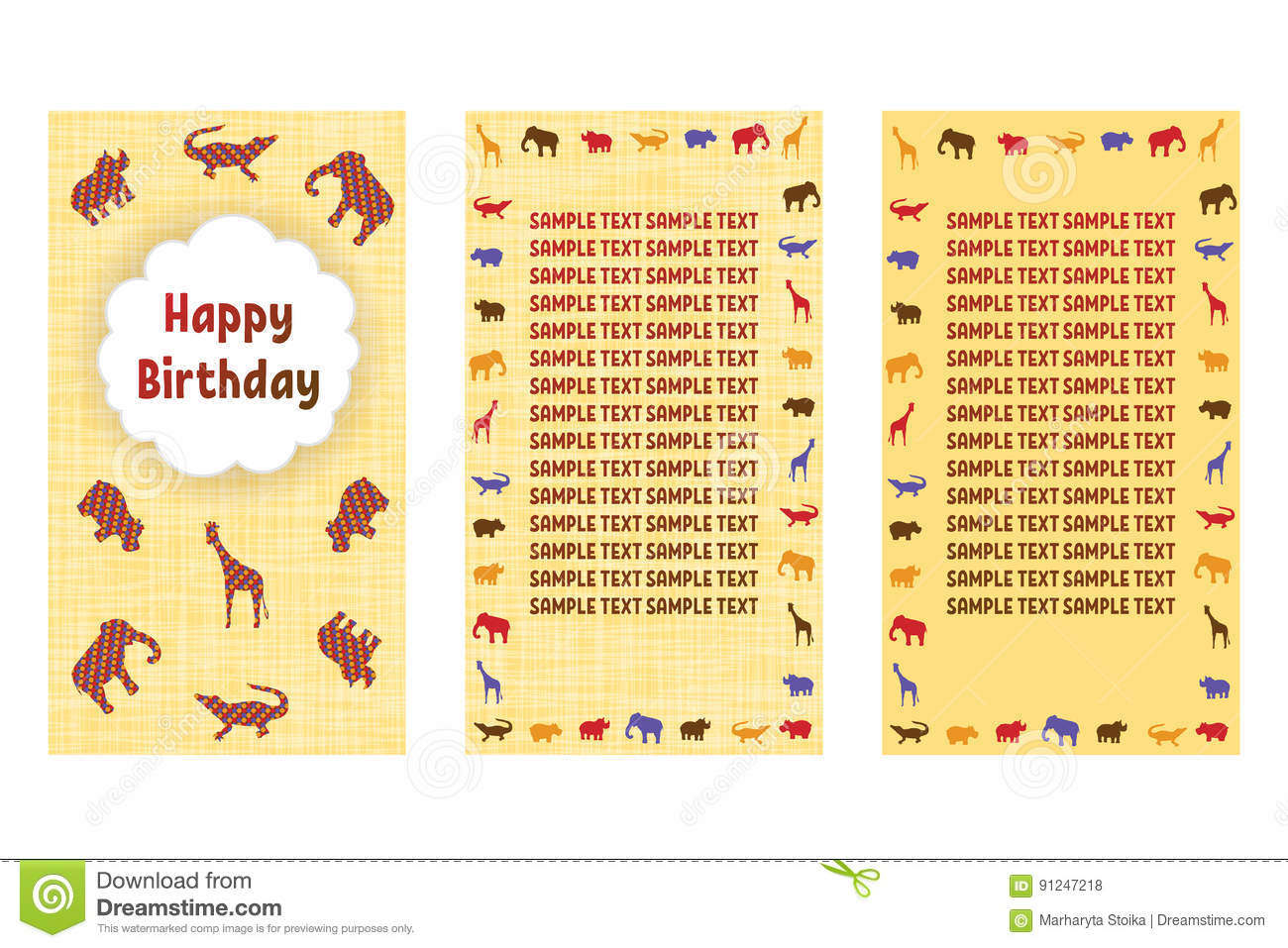 Happy Birthday Greeting Cards Three Different Vector Patterns In