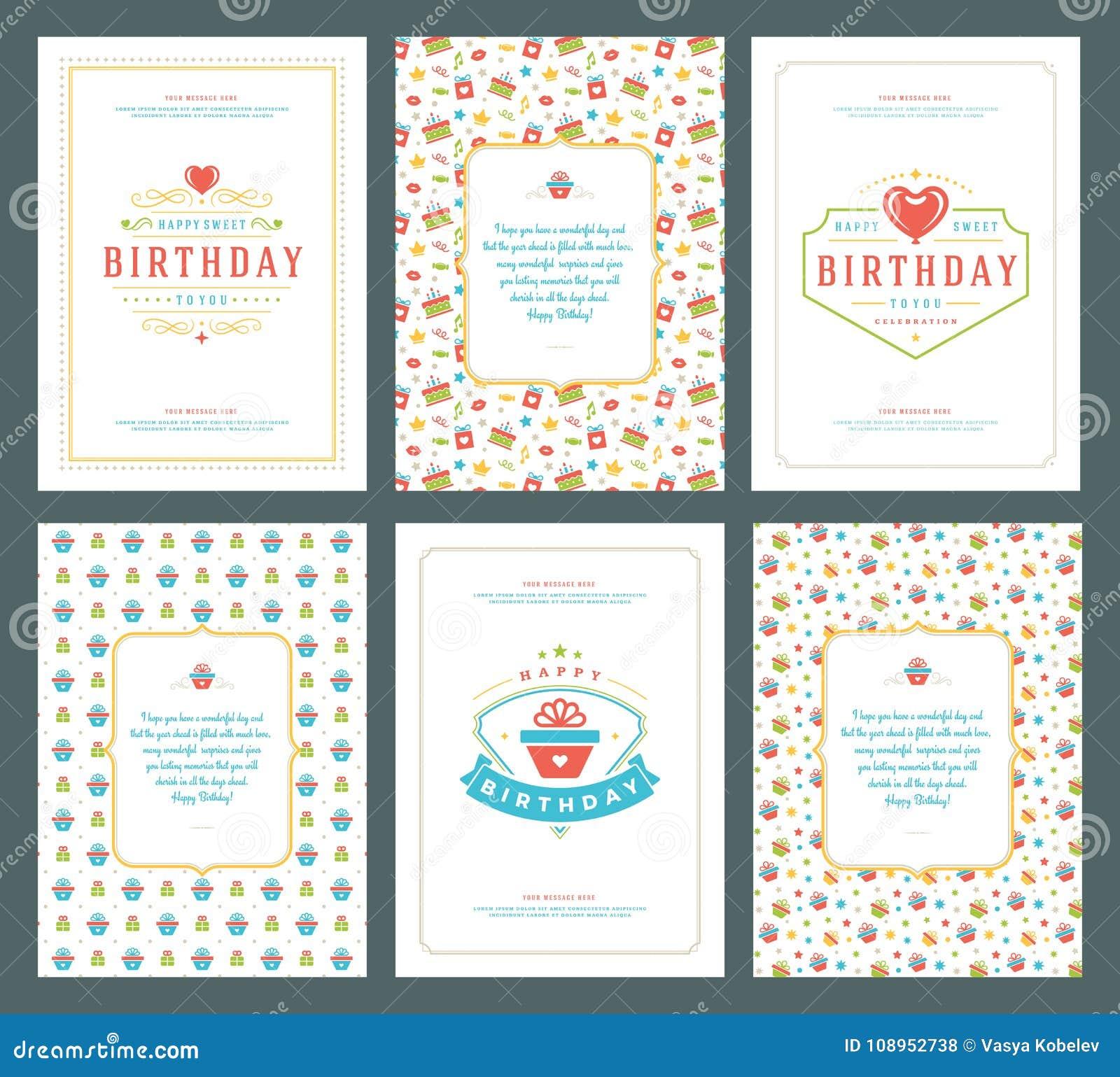 Happy Birthday Greeting Cards Typographic Design Set Vector