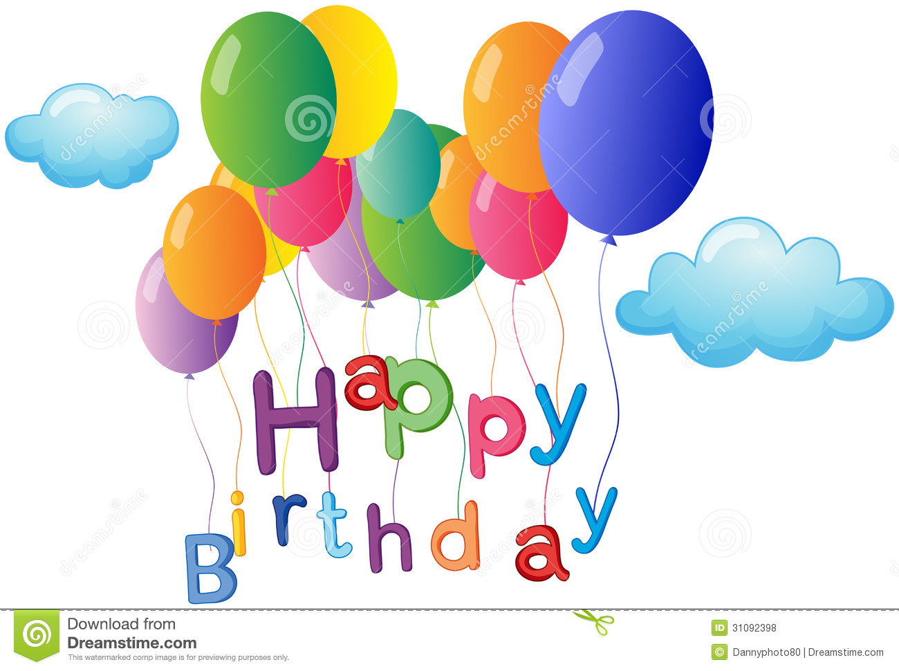 Happy Birthday Greeting Colorful Balloons Stock Illustrations