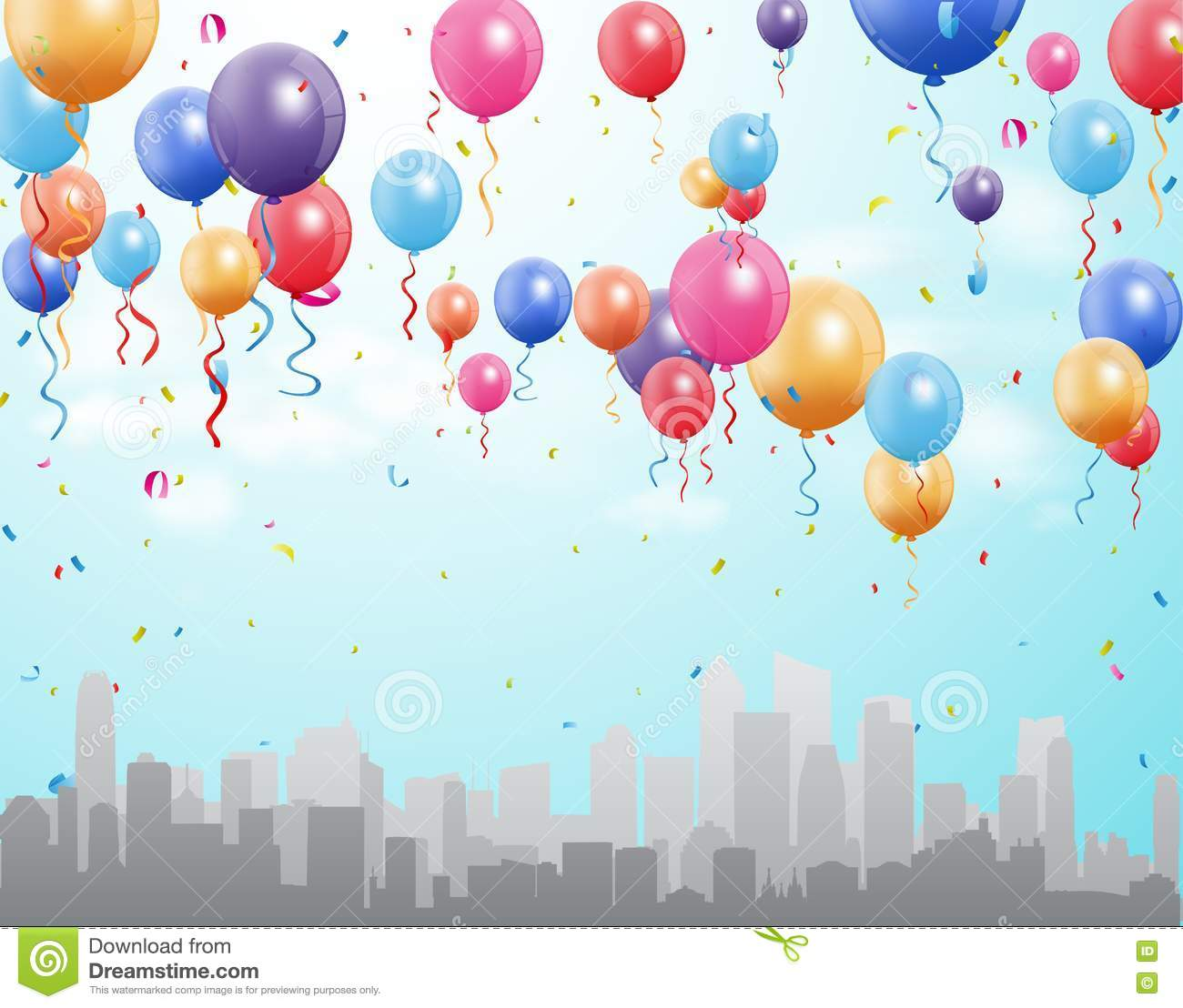 Happy Birthday Greetings With Balloon And Confetti Stock Vector