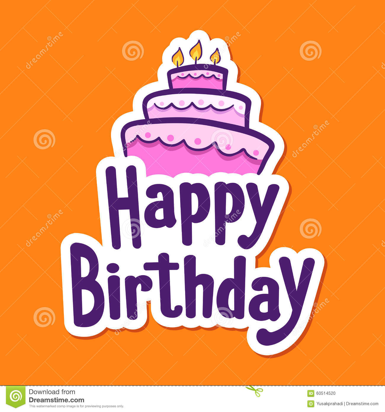 Happy Birthday Greetings With Cake On Top Stock Vector