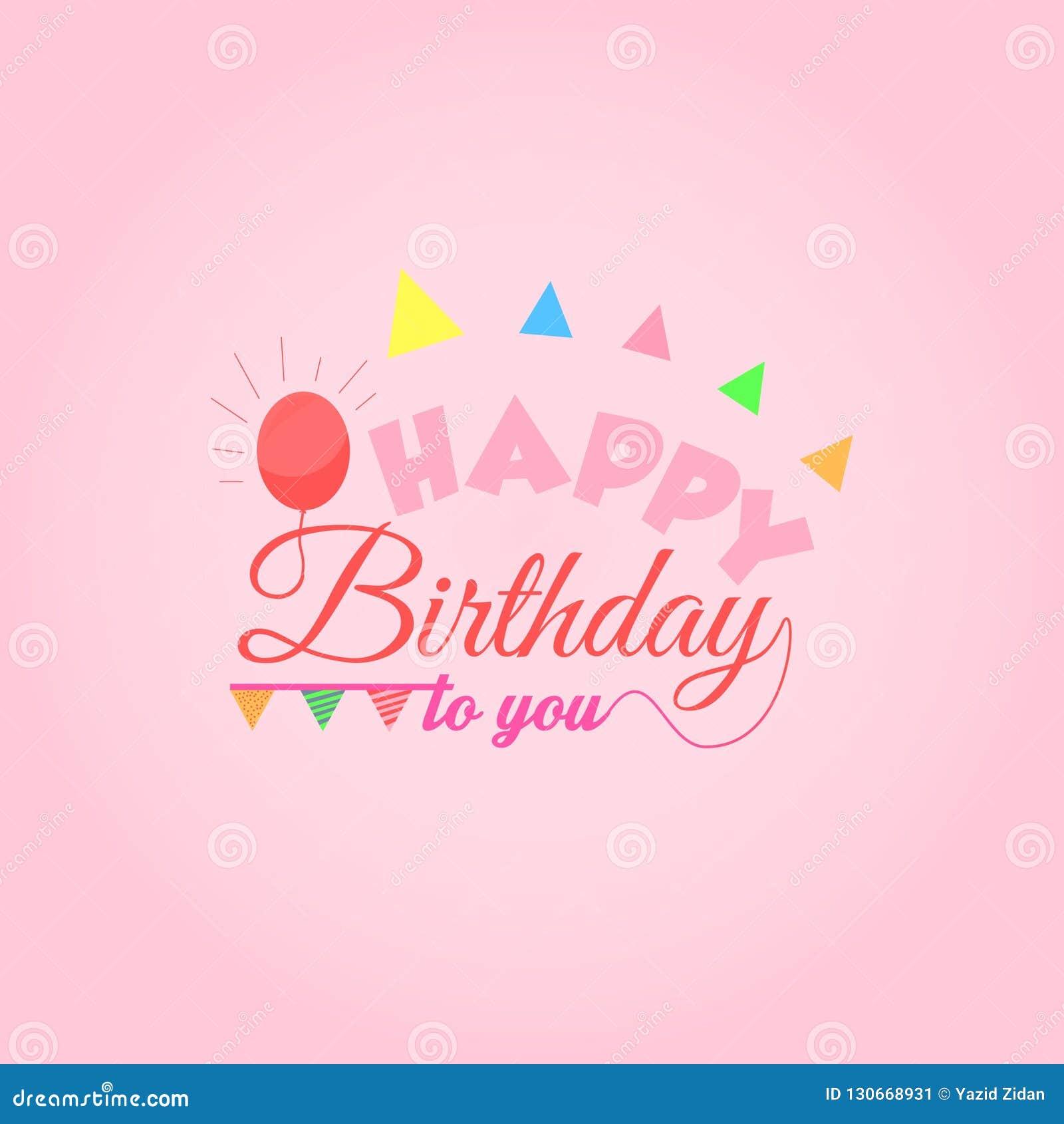 Happy Birthday Greetings Card Square Stock Illustration