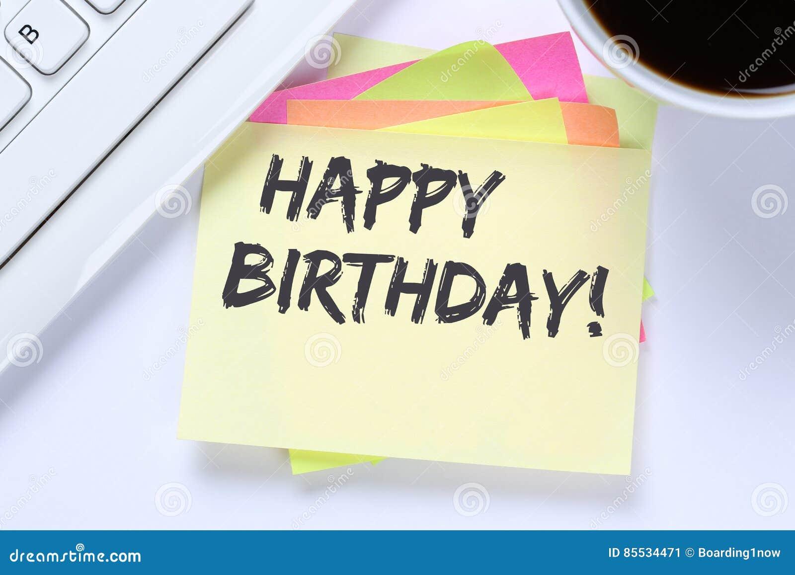 Happy Birthday Greetings Celebration Business Desk Stock Image