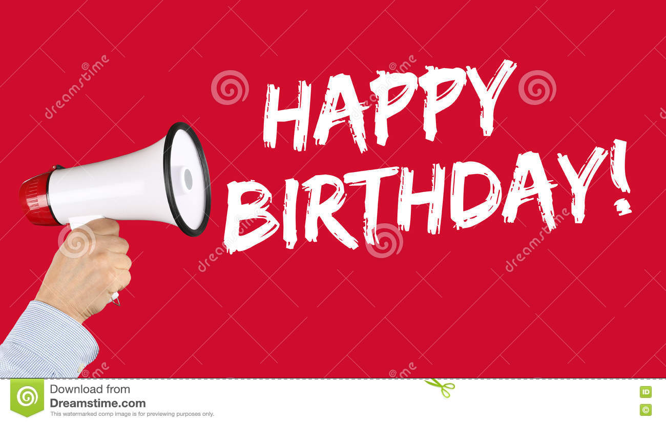 Happy Birthday Greetings Celebration Megaphone Stock Image Image