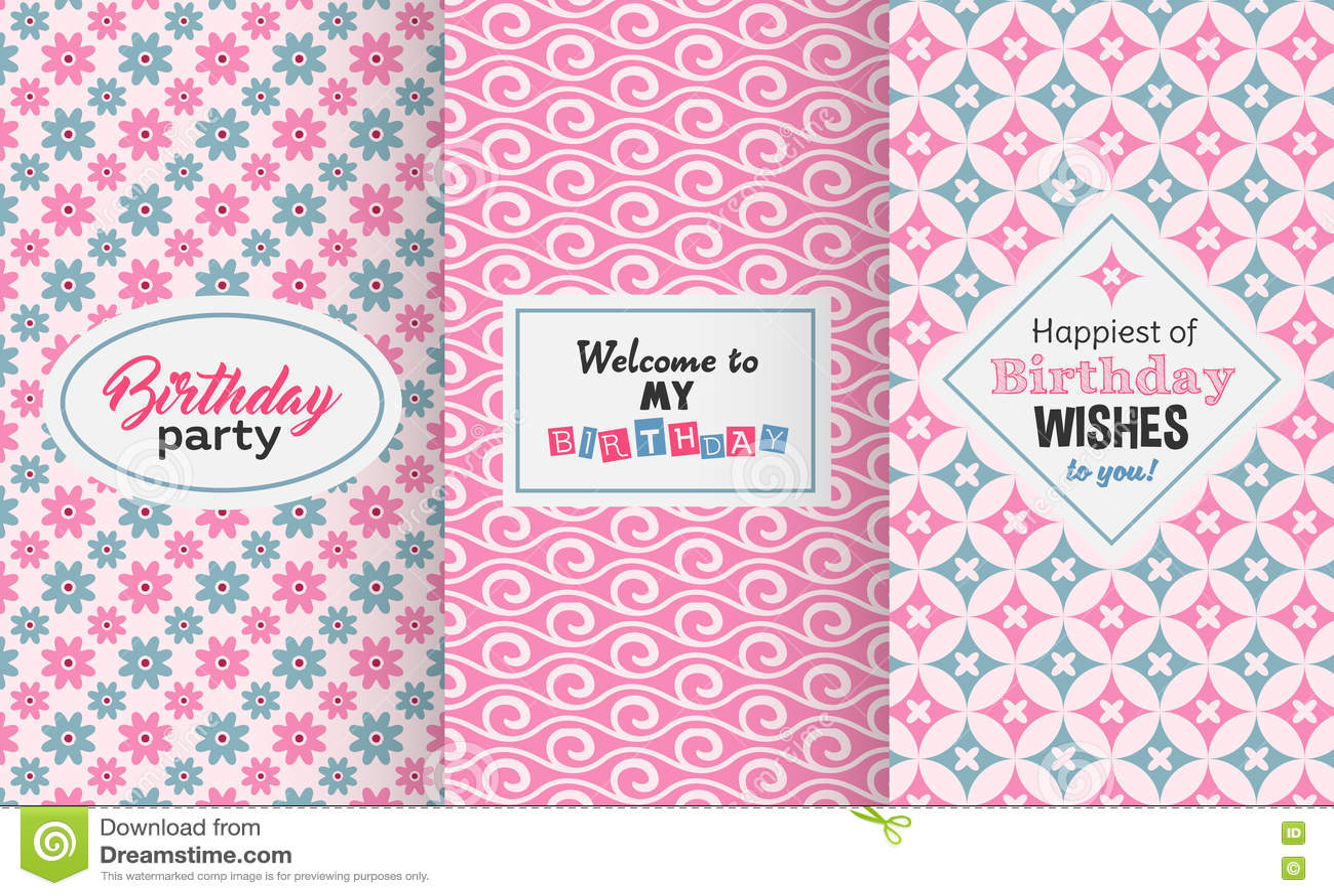 Happy birthday greetings invitation cute seamless pattern set happy birthday greetings invitation cute seamless pattern set m4hsunfo