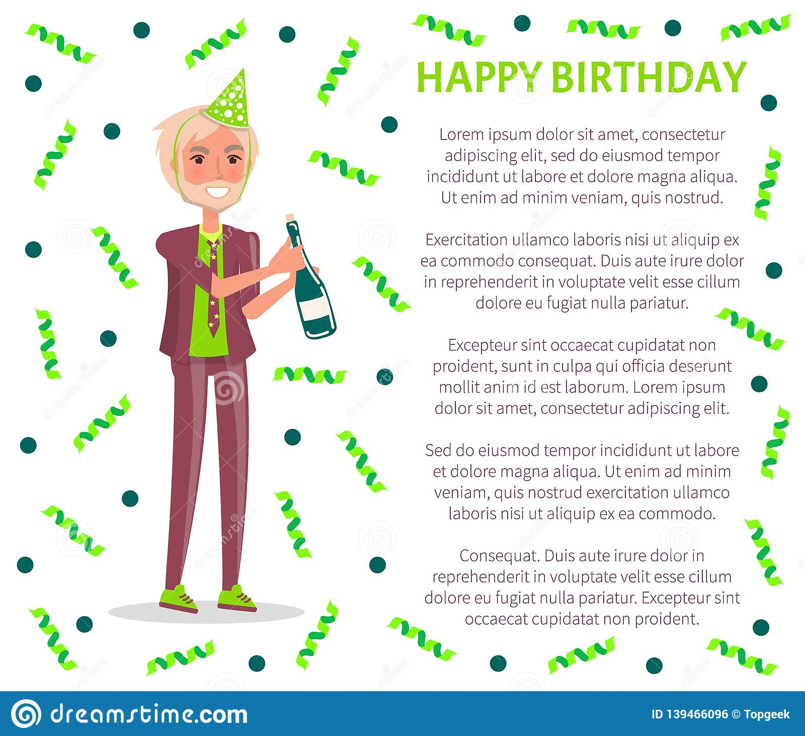 Happy Birthday Greeting Poster Man In Suit And Festive Cap With Champagne Celebrate Bday Party Vector Male Cartoon Character Bursting Confetti