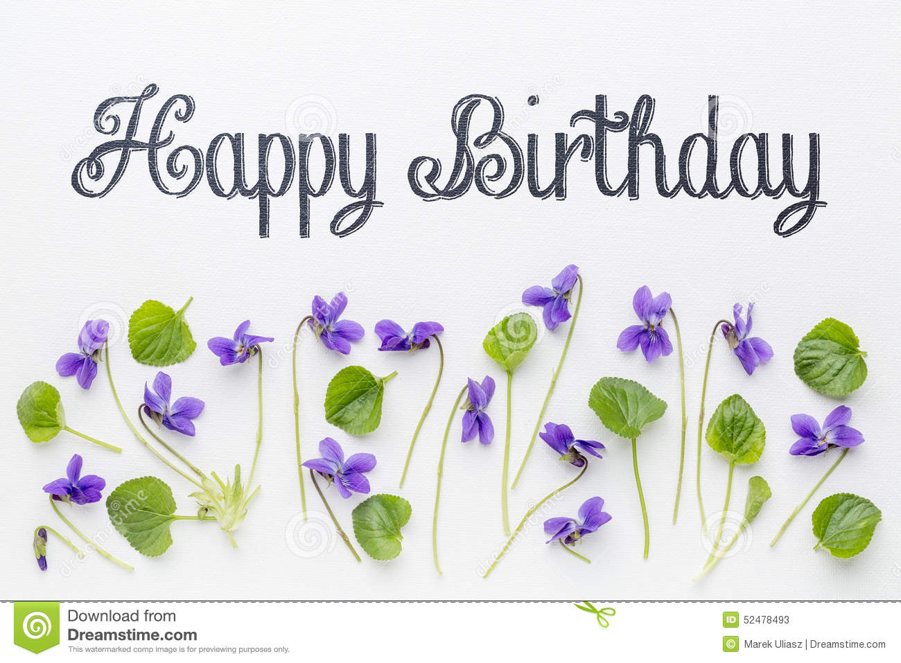 Happy birthday greetings with viola flowers stock photo image art birthday canvas fresh greetings happy viola white flower dhlflorist Gallery