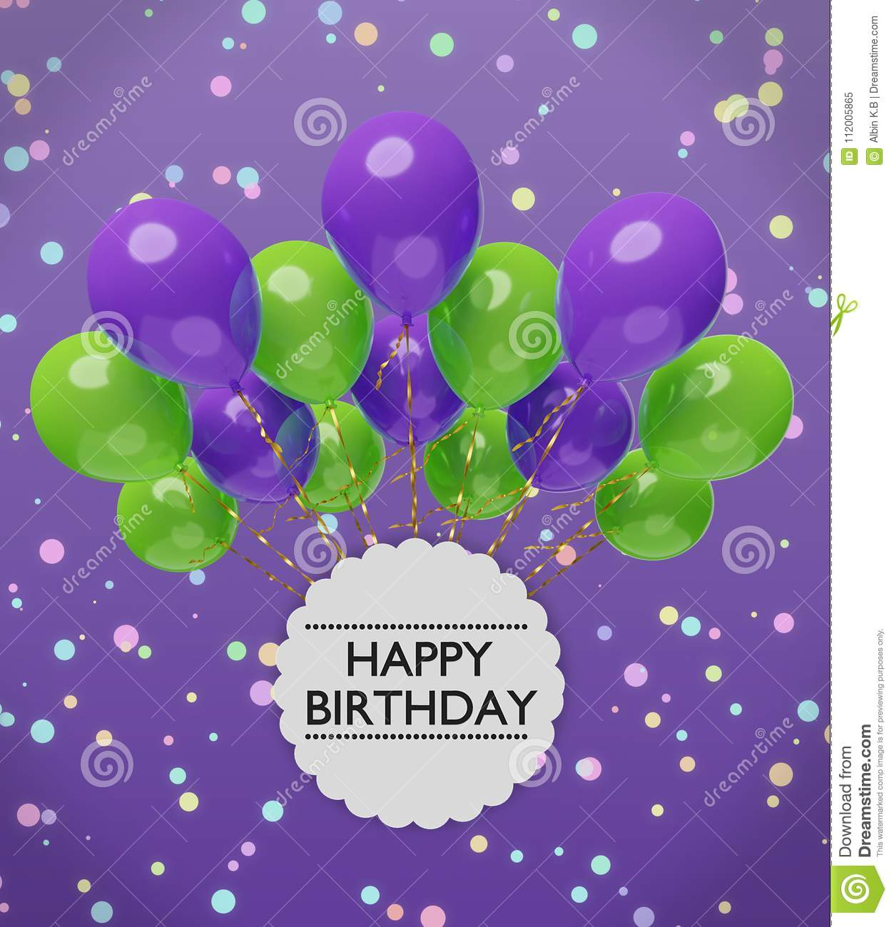 Happy birthday greetings with violet and green balloons 3d rendering download comp m4hsunfo