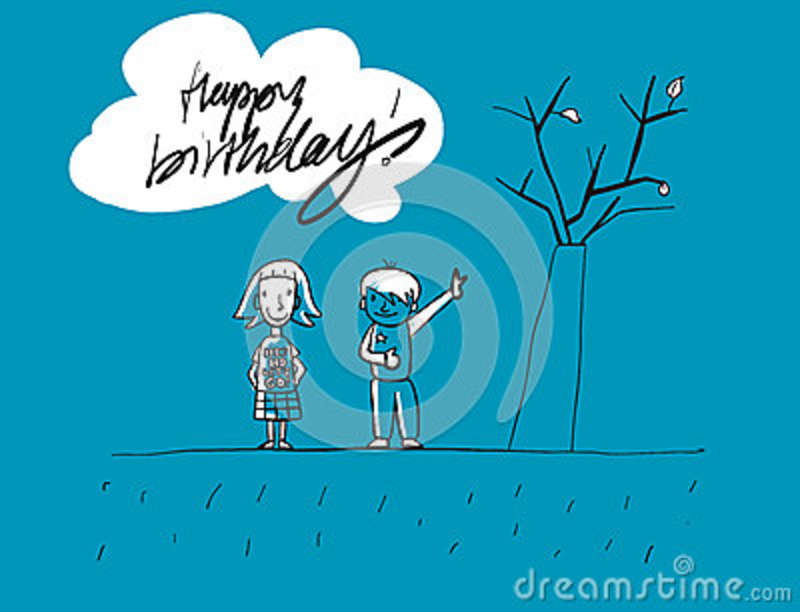 Happy Birthday Grunge Kids Greeting Card Hand Drawn Vector Sketches Blue Colored Artwork