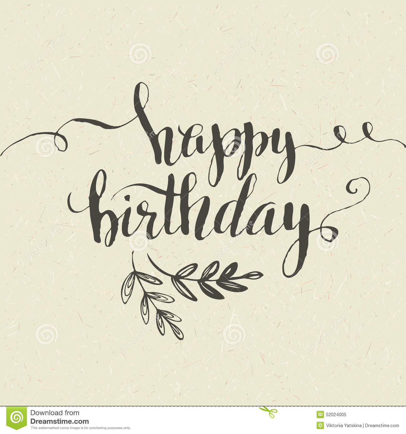 Happy Birthday Illustration Font ~ Happy birthday hand drawn card vector stock image