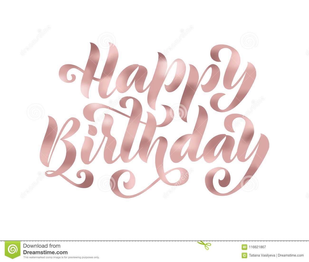 Happy Birthday Hand Drawn Lettering Card Modern Brush Calligraphy Vector Illustration Rose Gold Glitter Text