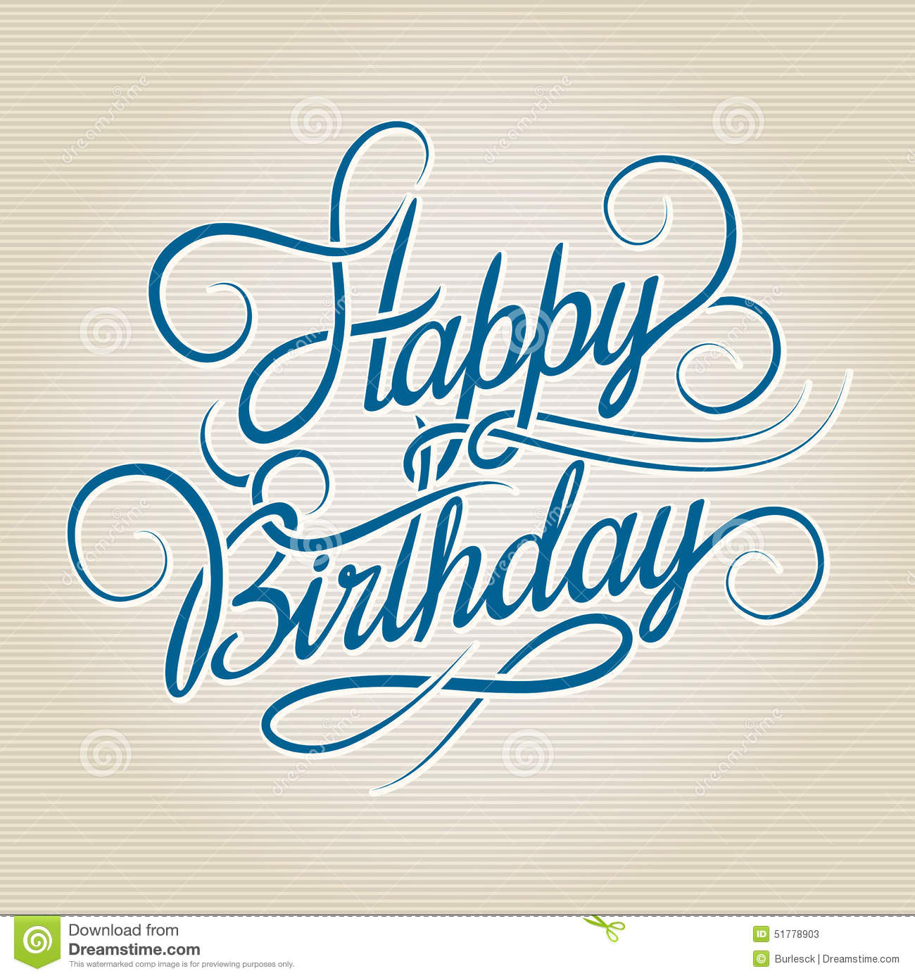 Happy Birthday Illustration Font ~ Happy birthday hand drawn lettering stock vector image