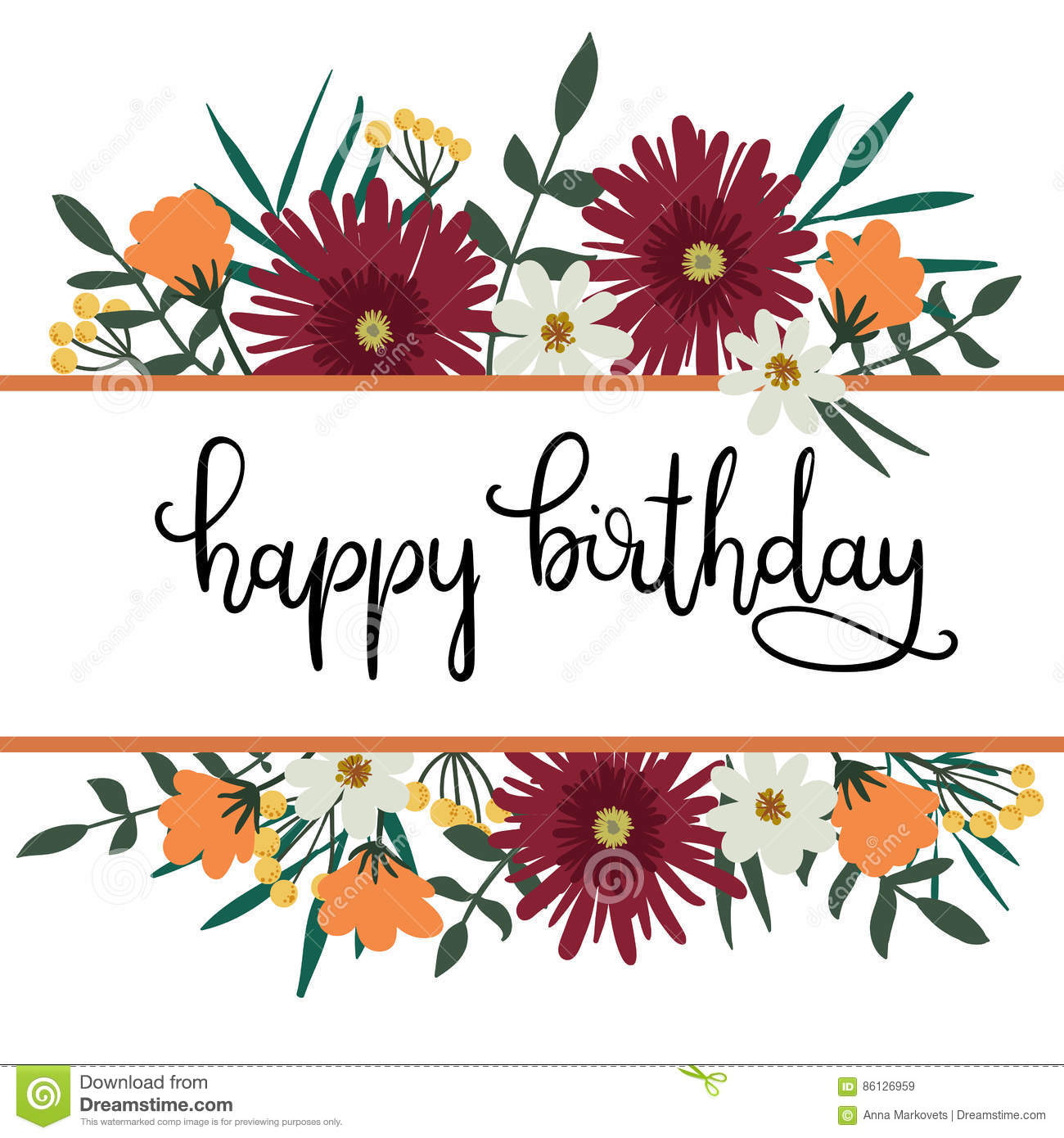 Happy Birthday Hand Lettering Greeting Card With Floral Frame Stock
