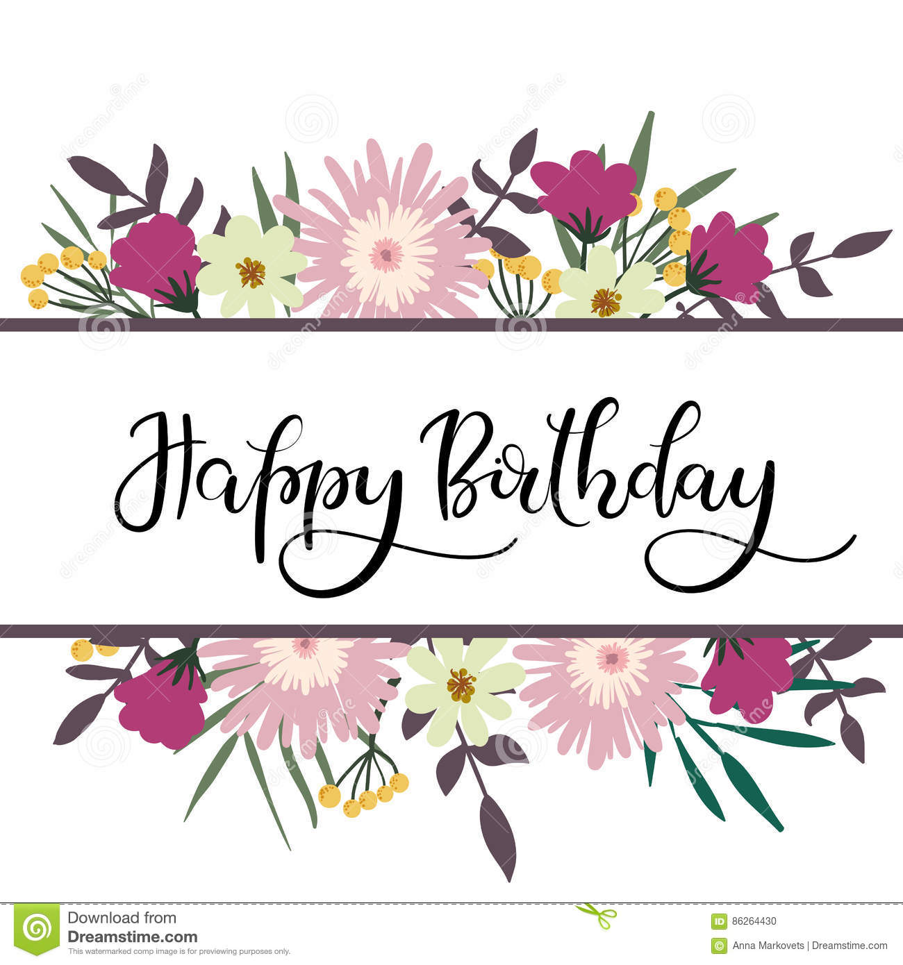 Happy Birthday Hand Lettering Greeting Card With Floral