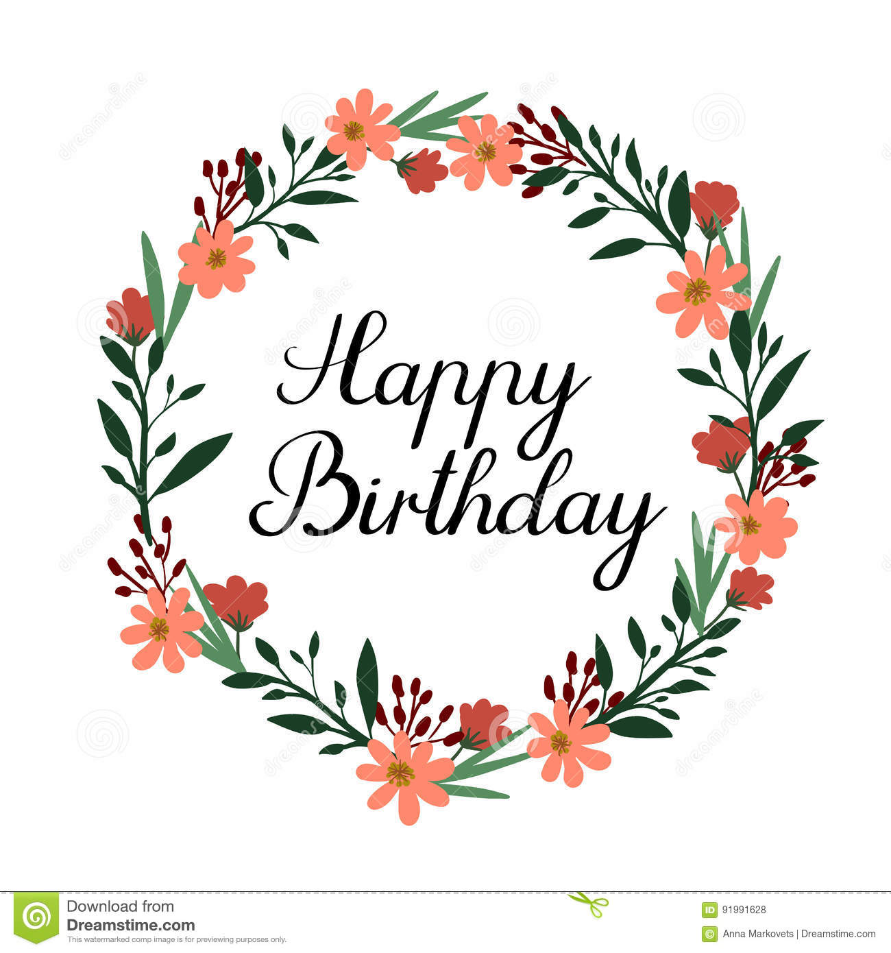 Happy Birthday Hand Lettering Greeting Card. Vector