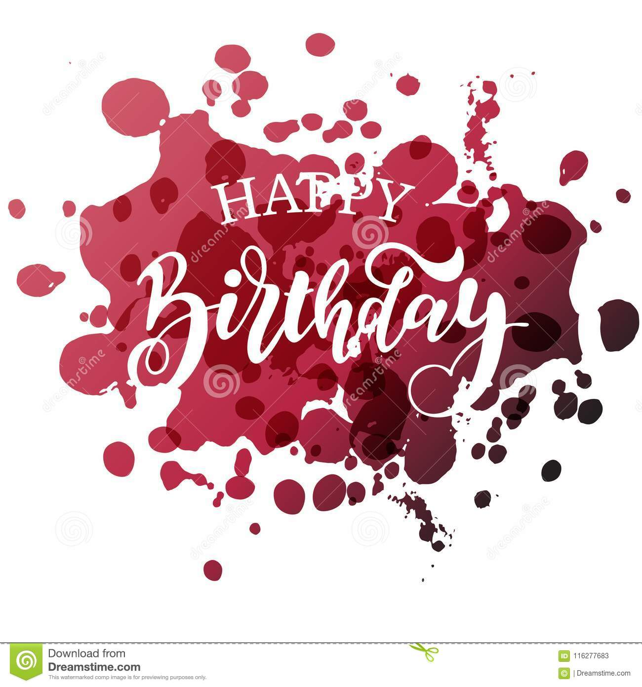 Happy Birthday Hand Written Lettering. Stock Vector - Illustration ...