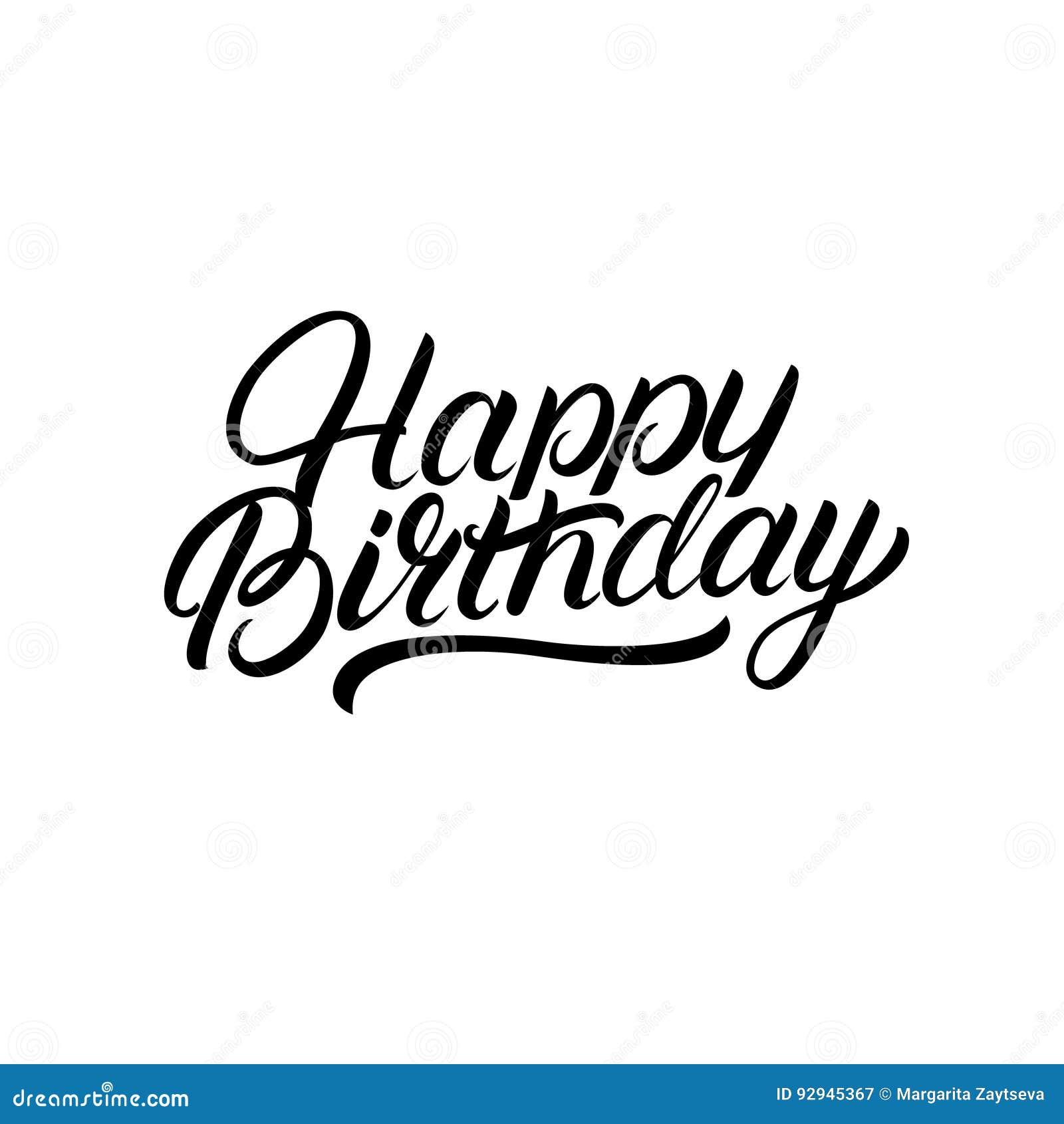 Happy Birthday Hand Written Lettering. Cartoon Vector
