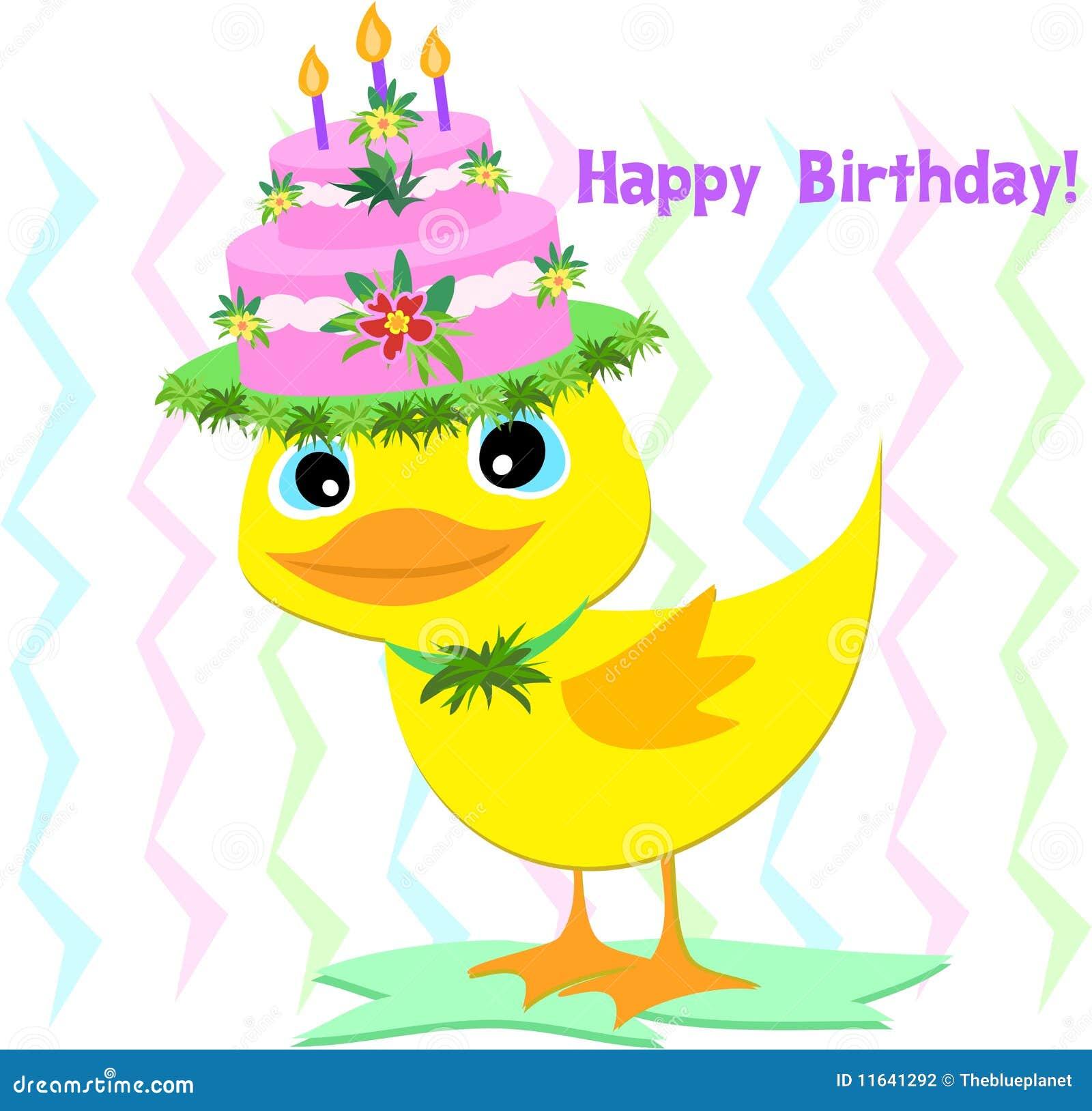 Happy Birthday Hat On A Duck Stock Vector Illustration
