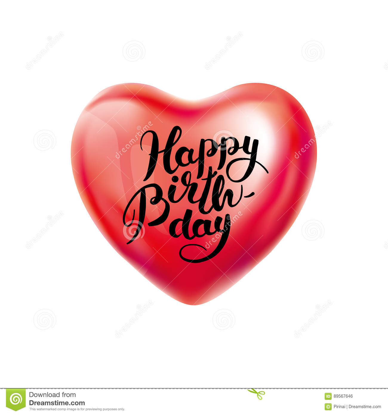 Happy birthday heart balloon vector illustration cartoondealer com 92505738