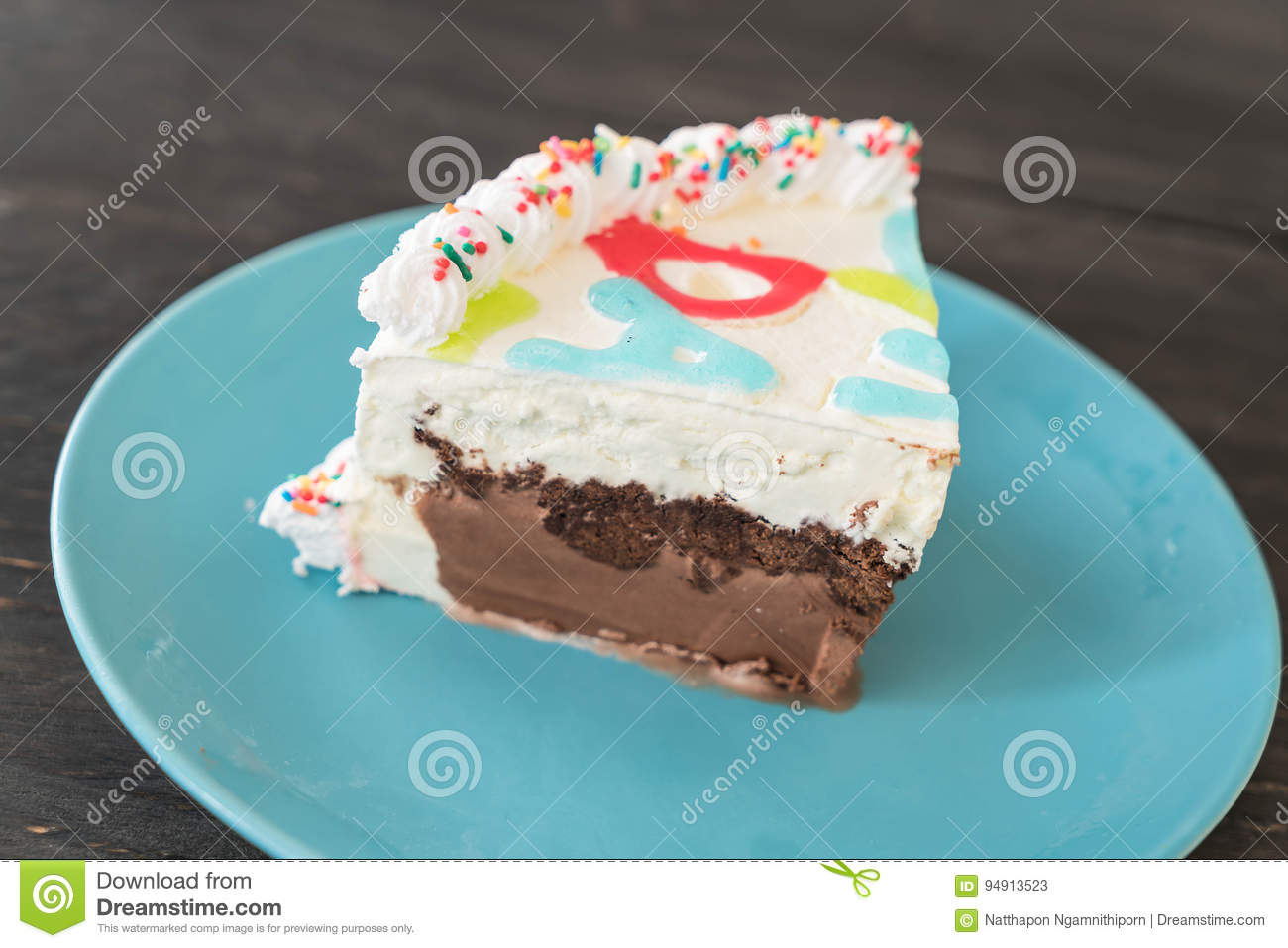 Happy Birthday Ice Cream Cake Stock Image Image Of Party Candle