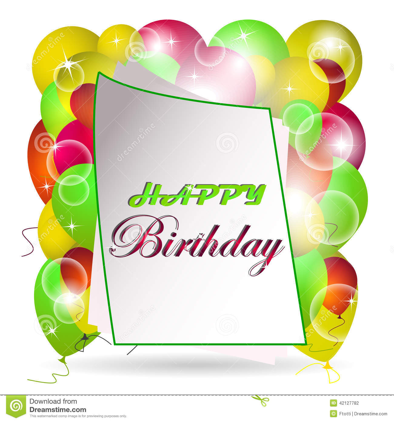 Happy Birthday Illustration, Card Stock Vector - Image: 42127782