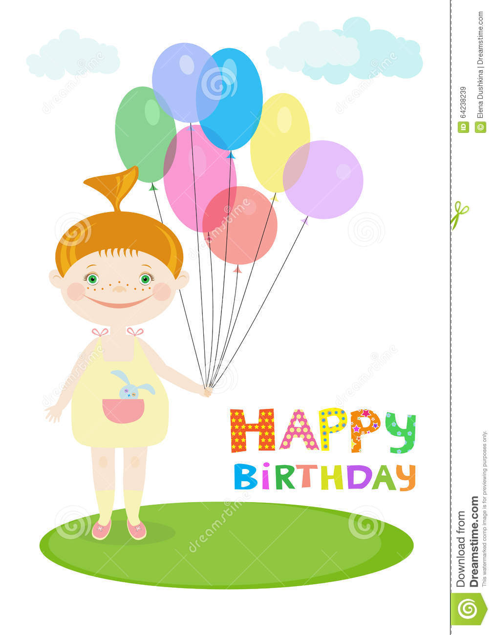 Happy Birthday Illustration With A Little Girl Holding Balloons