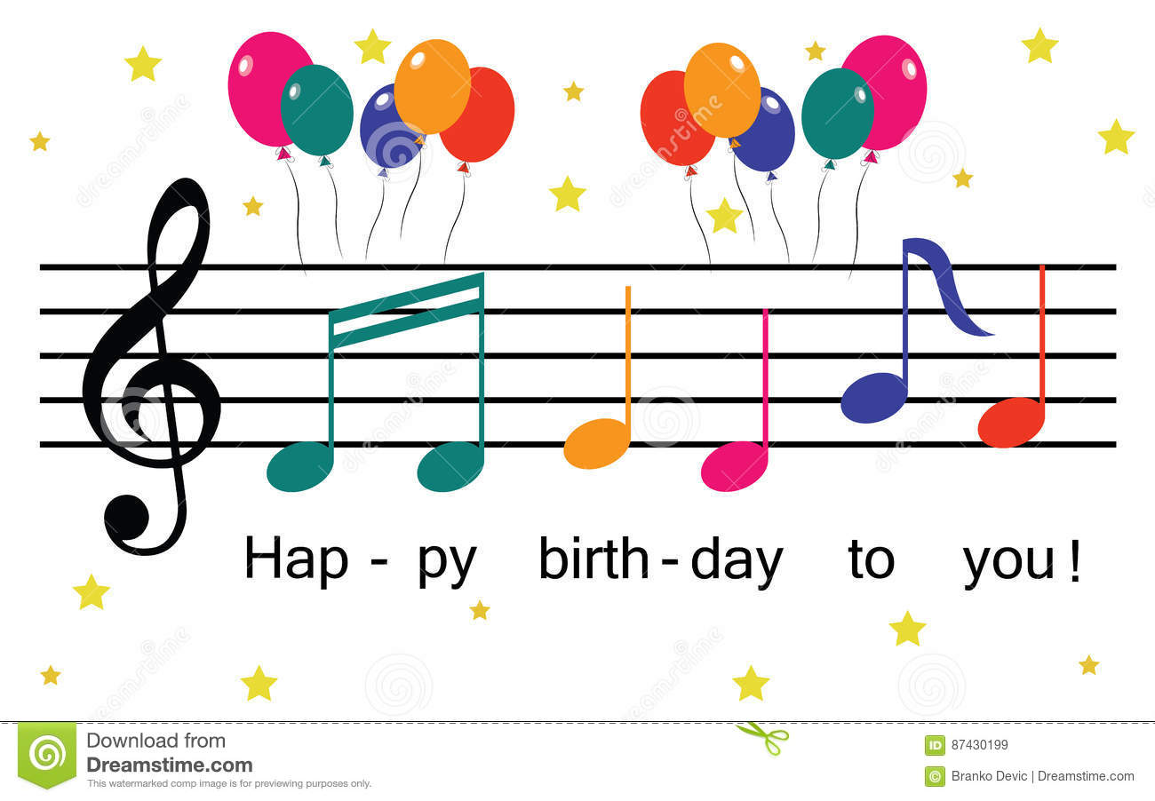 Happy Birthday Illustration With Music Notes