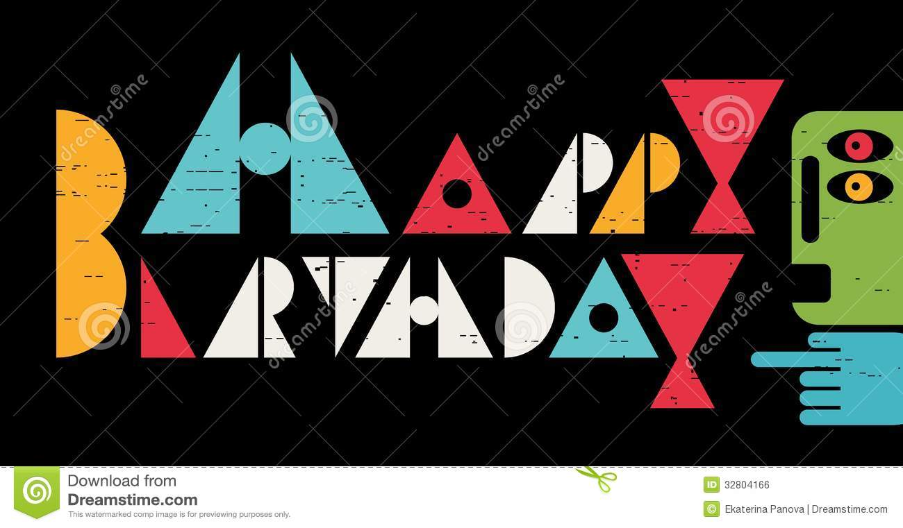 Happy Birthday Inscription With Cool Letters Stock Vector