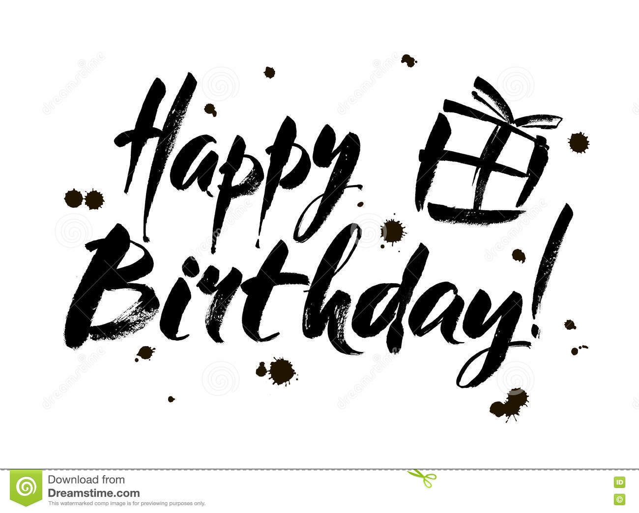 Happy Birthday Inscription Greeting Card With Calligraphy Hand – Birthday Cards Black and White