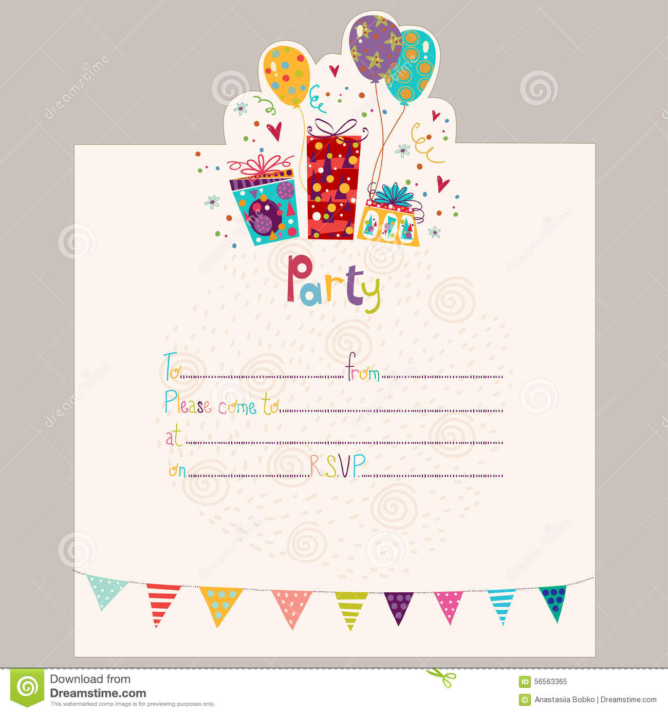 Happy Birthday InvitationBirthday Greeting Card With Gifts And – Greeting Card Invitation