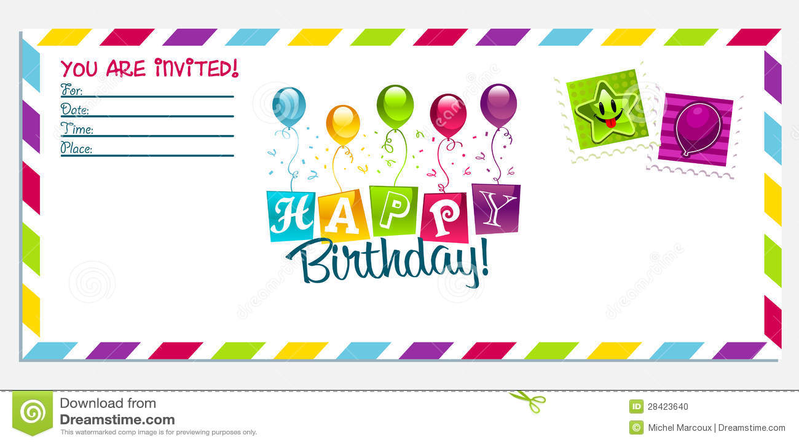 Happy Birthday Invitation Card Stock Photo - Image: 28423640