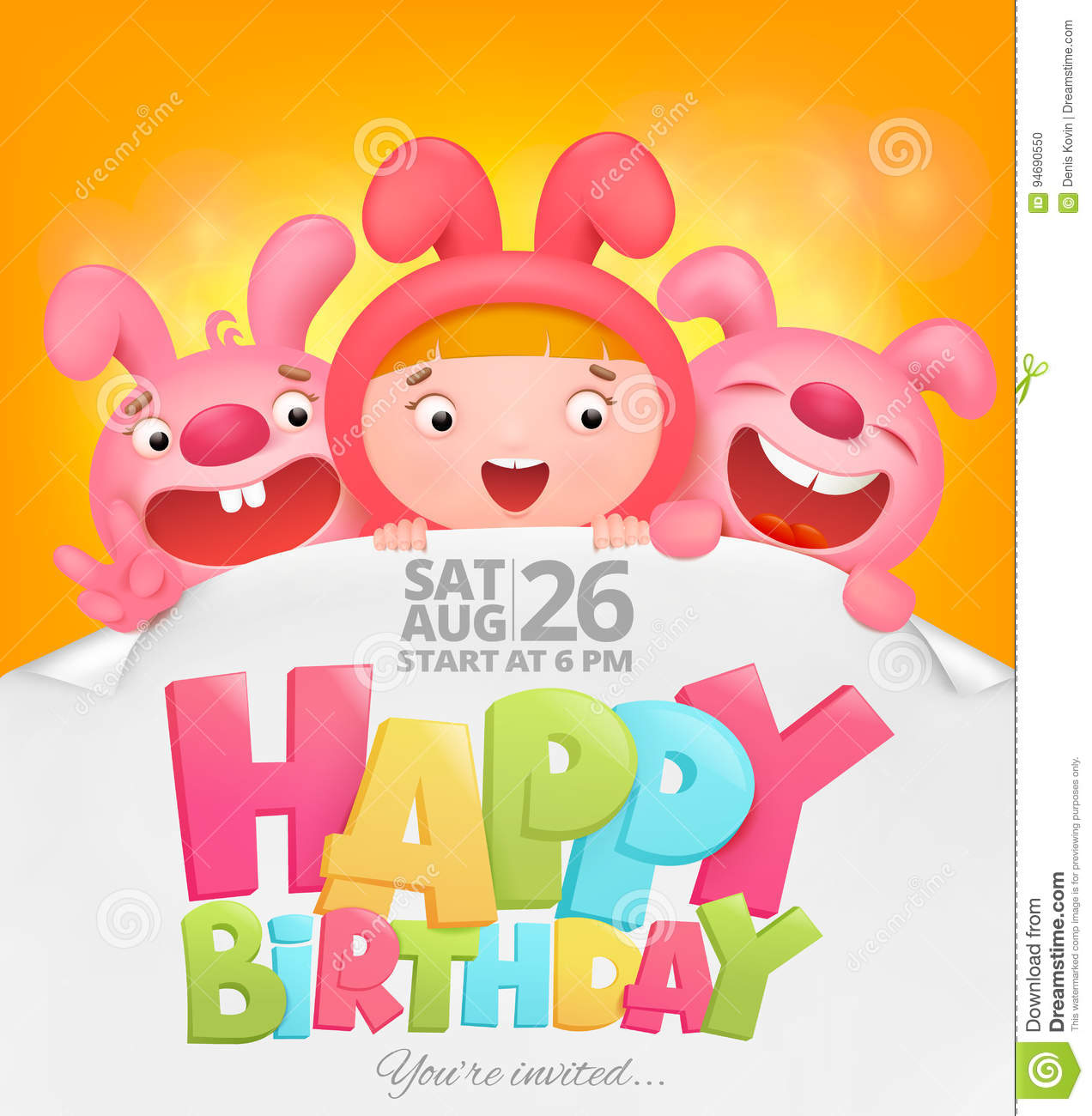 Happy Birthday Invitation Card With Girl In Pink Bunny