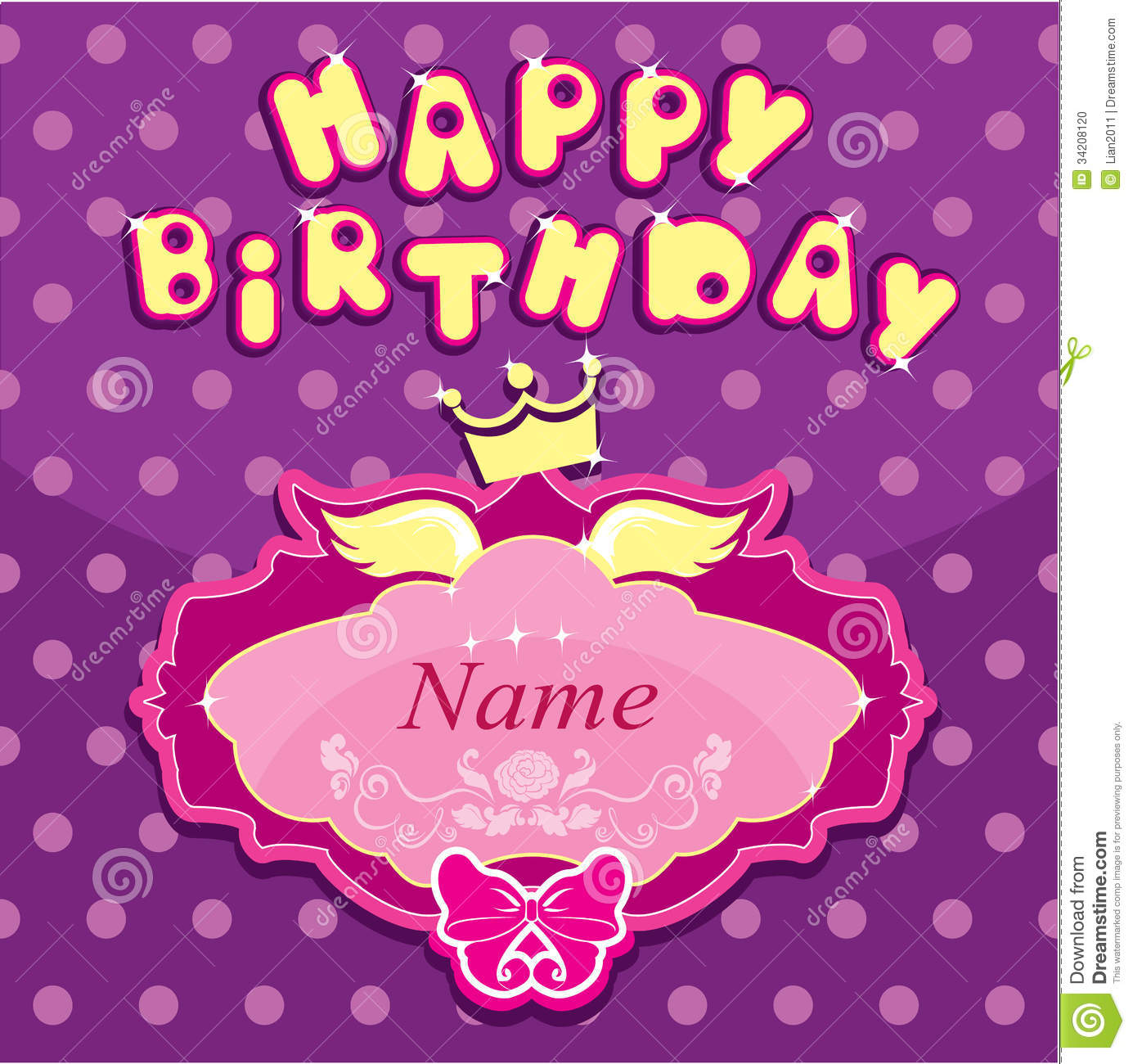 Happy Birthday Invitation Card For Girl With Pri Stock Vector