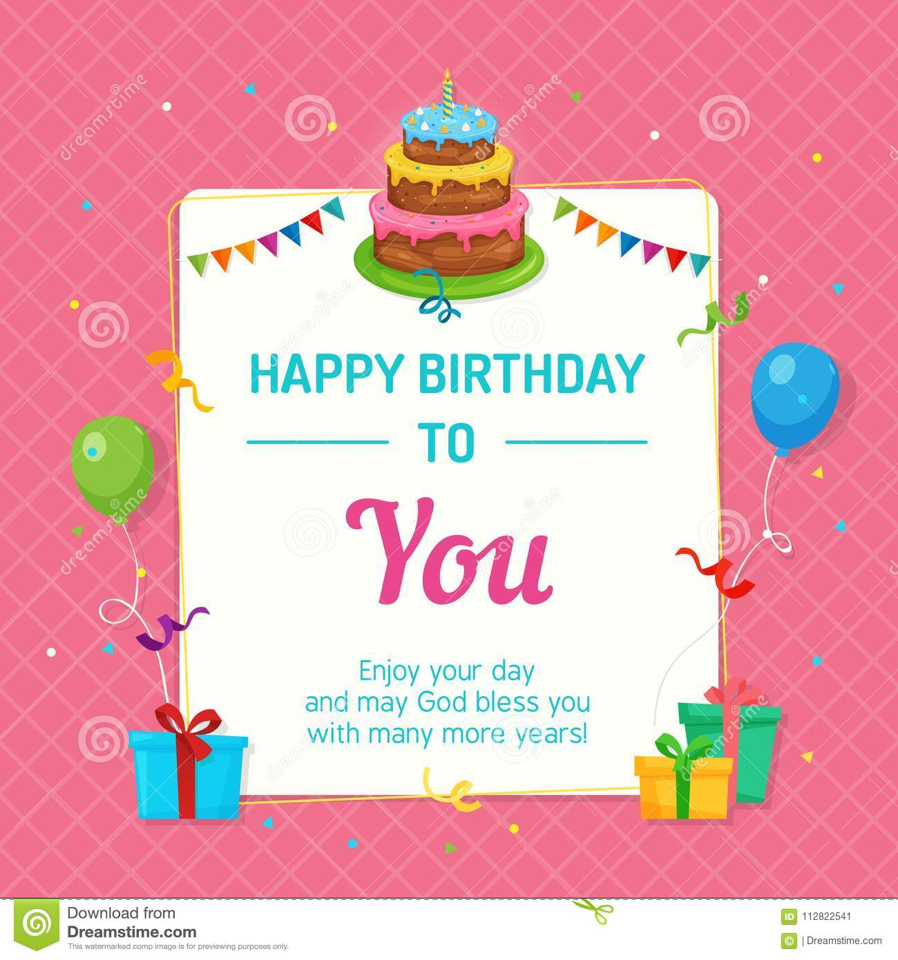 Happy Birthday Invitation Card Template With Birthday Cake And Party
