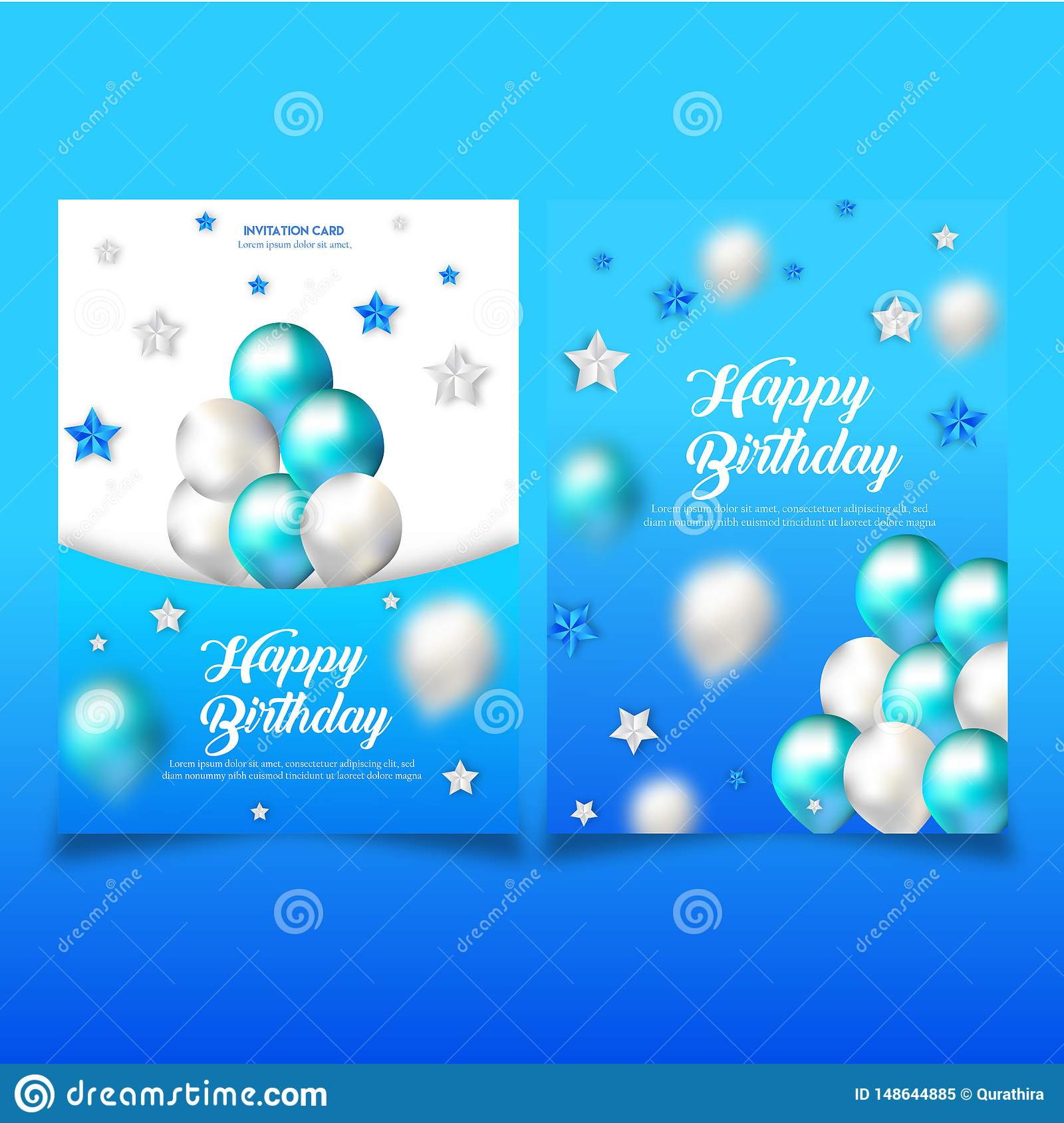 Double Side Birthday Invitation Card Template Stock