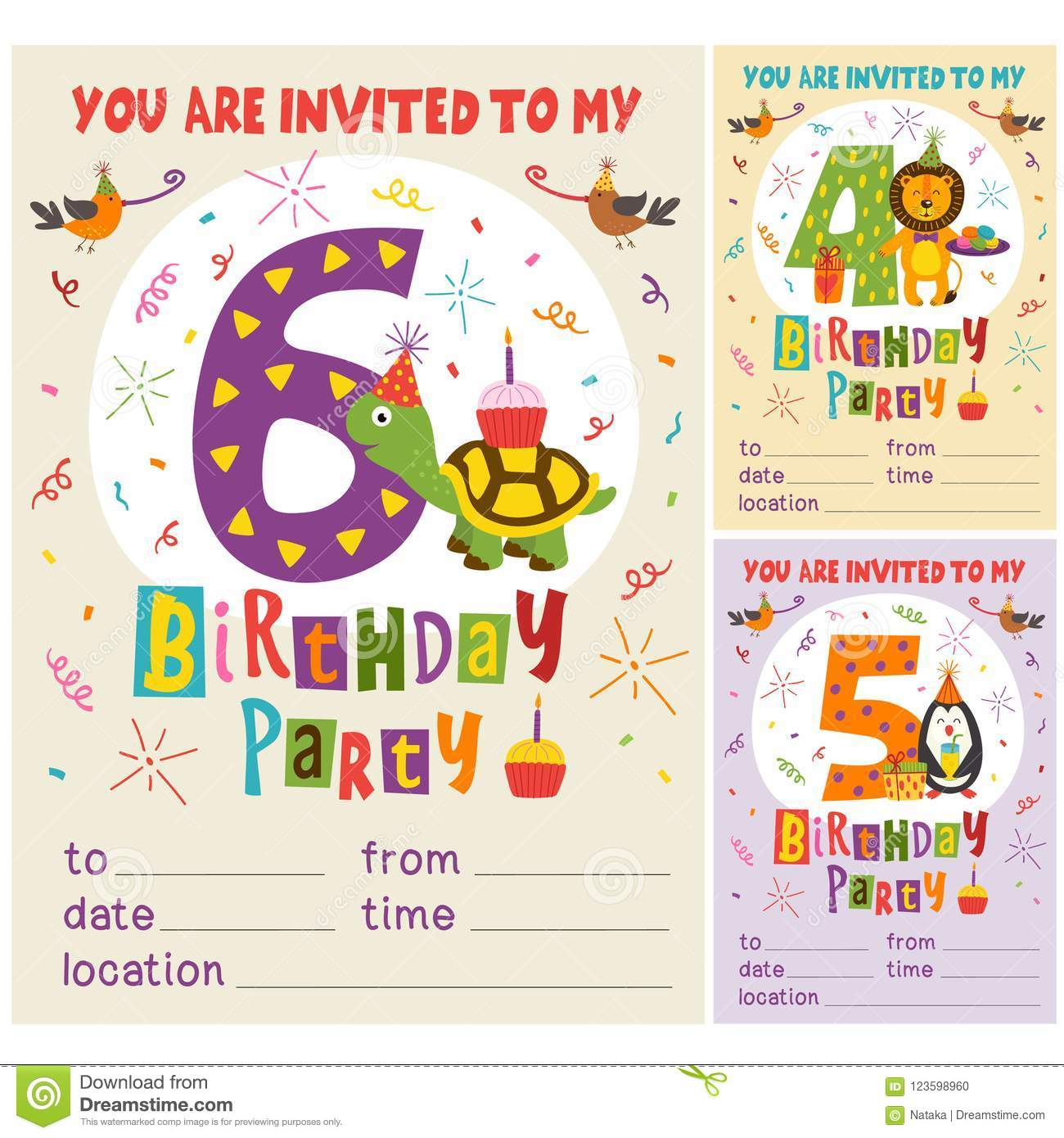 Happy birthday invitation card template with funny animals from 4 to download happy birthday invitation card template with funny animals from 4 to 6 stock vector stopboris Images
