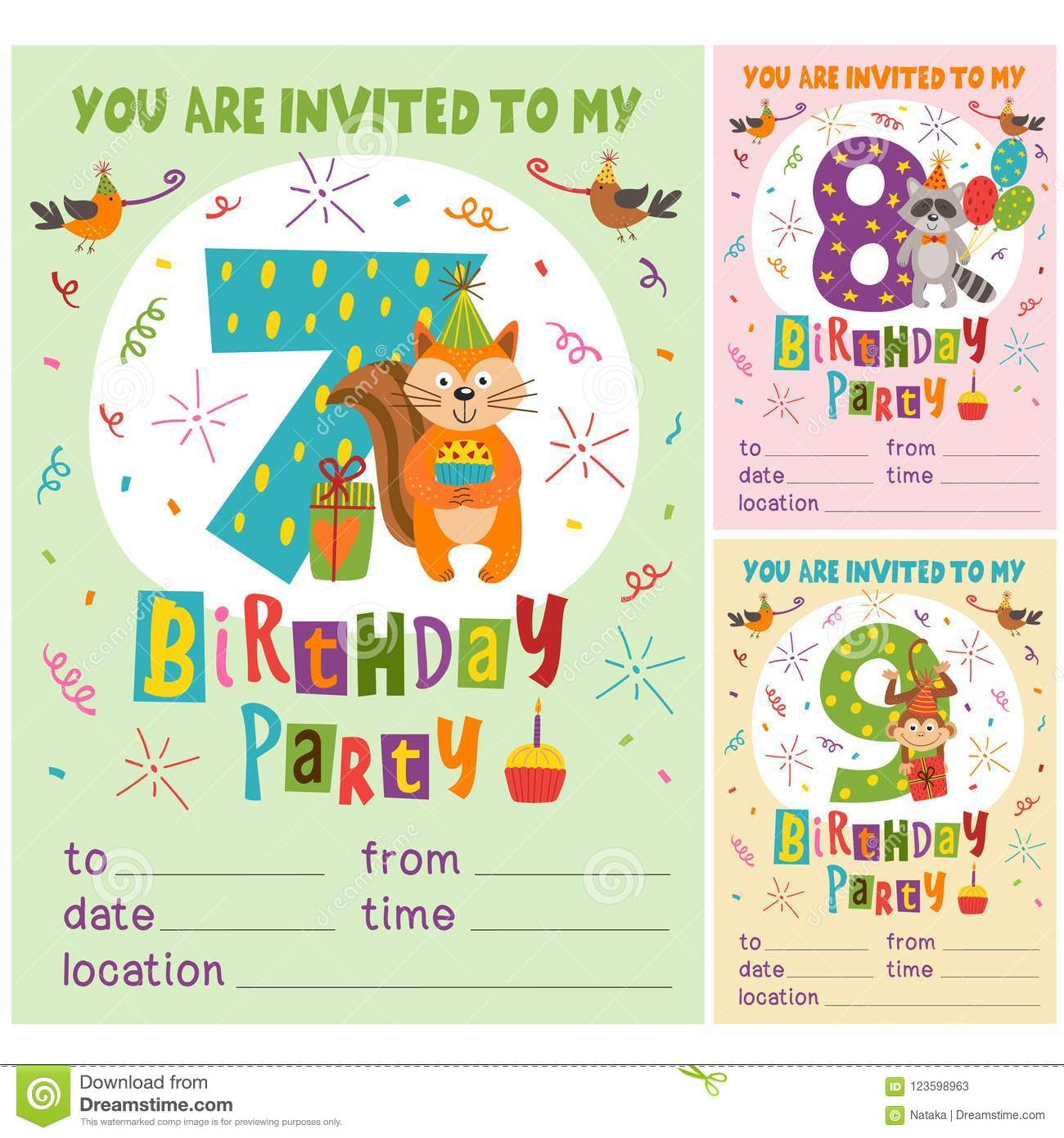 Happy Birthday Invitation Card Template With Funny Animals From 7 To