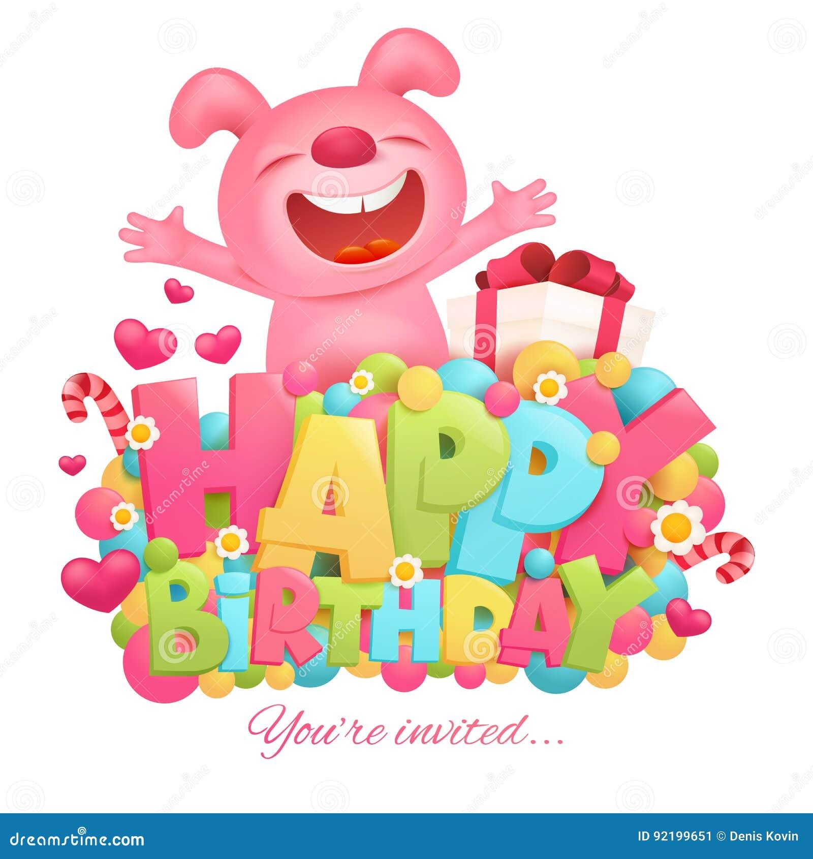 Happy Birthday Invitation Card Template With Toy Pink Bunny Emoji
