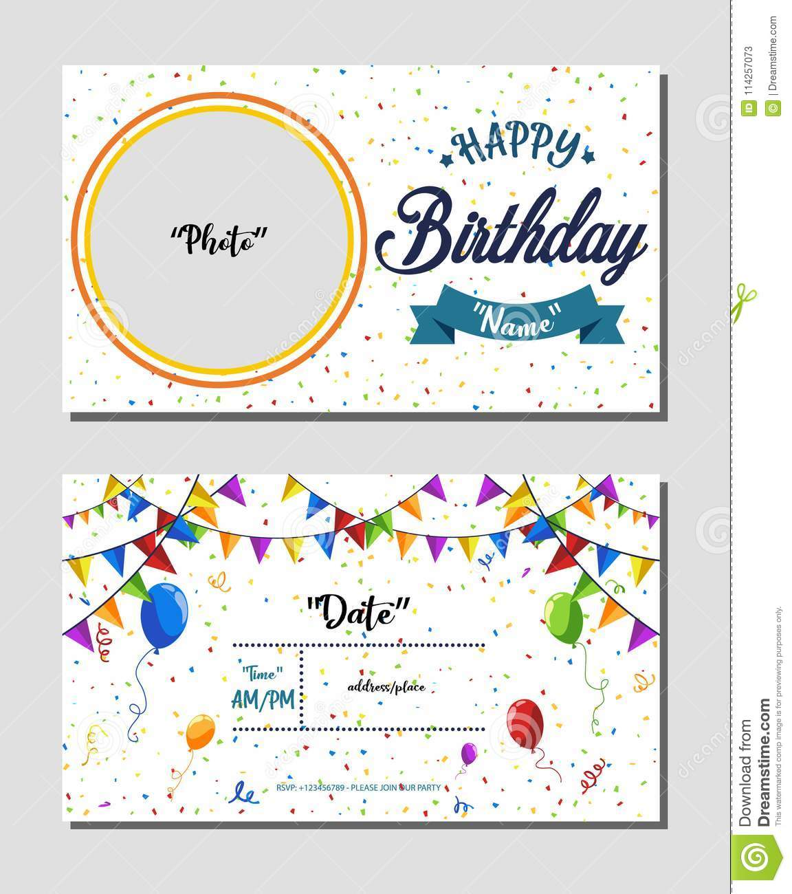 Fabulous Happy Birthday Invitation Card Template Vector Illustration Of Funny Birthday Cards Online Fluifree Goldxyz