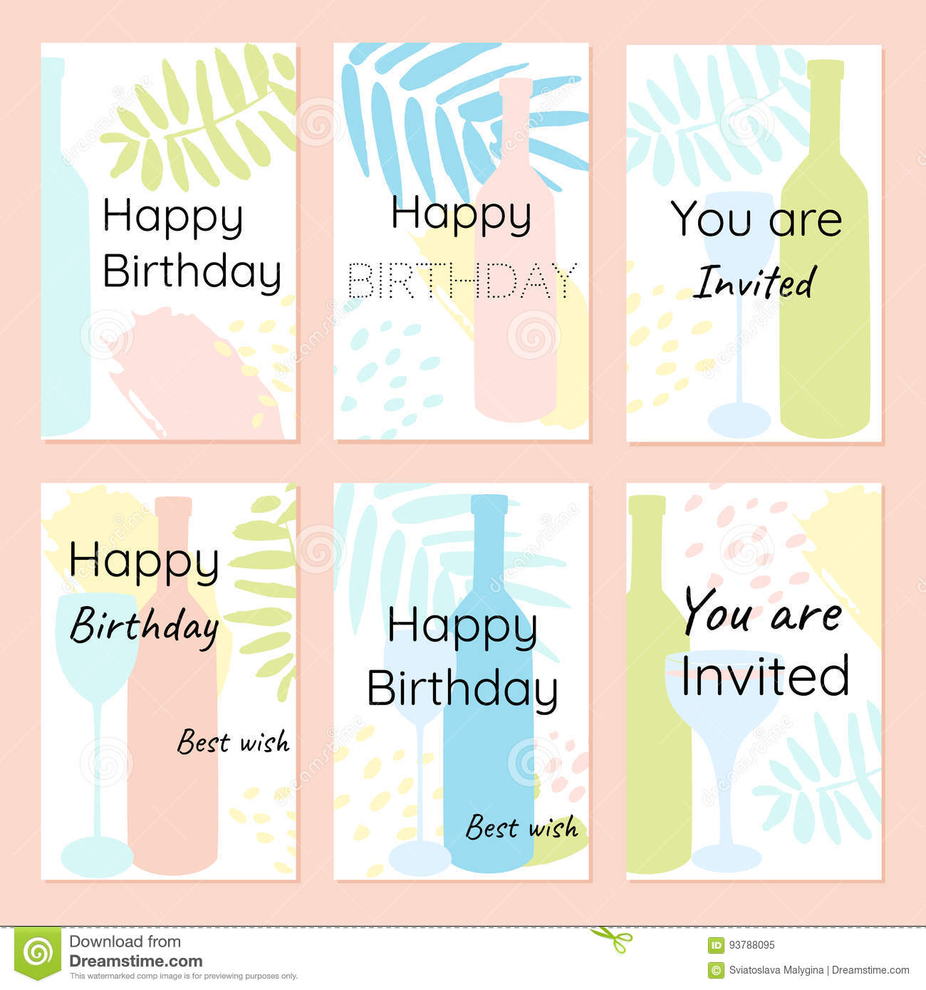 Happy birthday and invitation vector cards in a minimalist style download comp stopboris Image collections