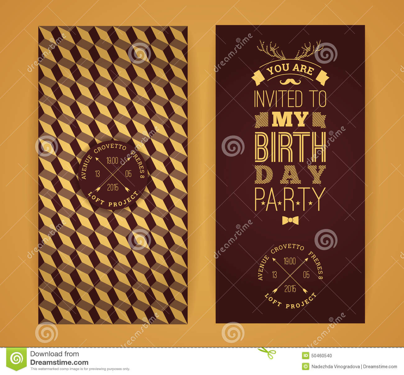 Happy Birthday Invitation Vintage Retro Background With Geometric Pattern Hipster Style