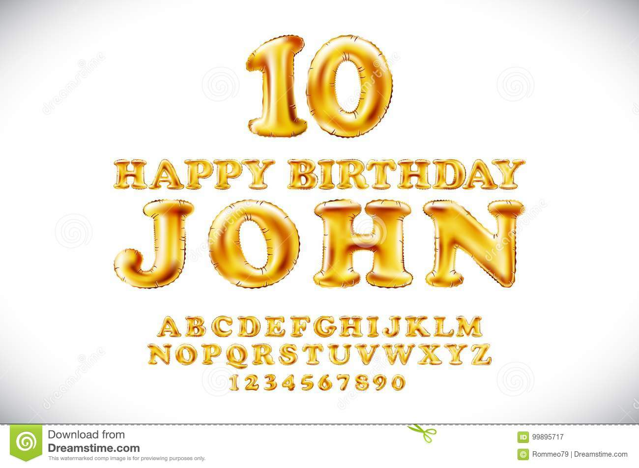 Happy Birthday JOHN Vector Metallic Gold Balloons Alphabet And Numerals From Yellow Golden On A White Background Name Holidays Letter