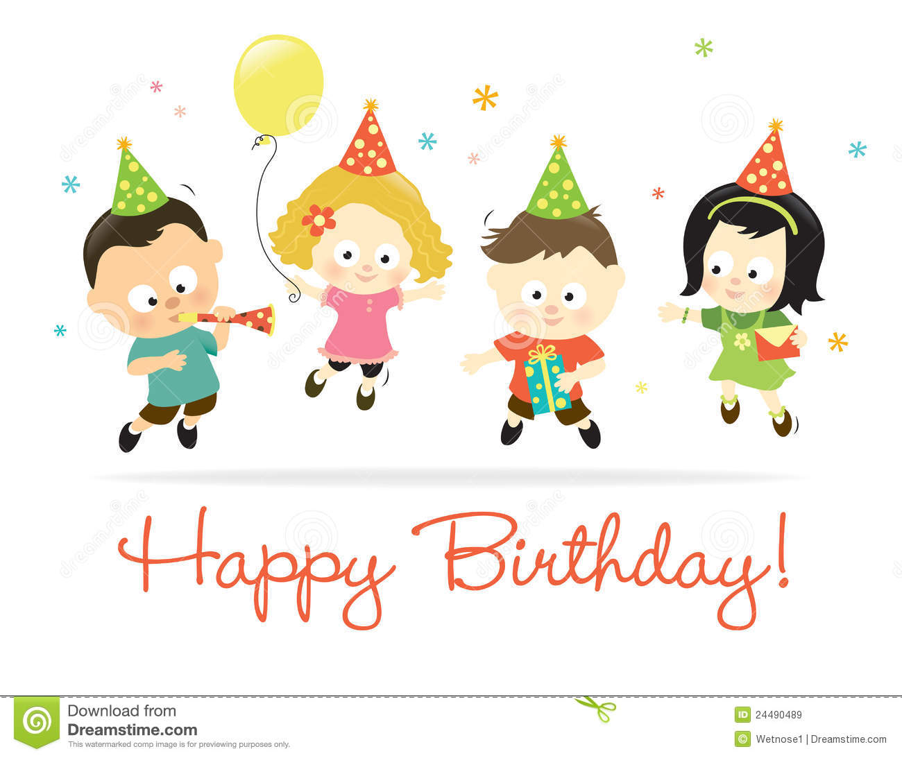 Happy Birthday Kids 2 Royalty Free Images Image 24490489 – Children Birthday Cards
