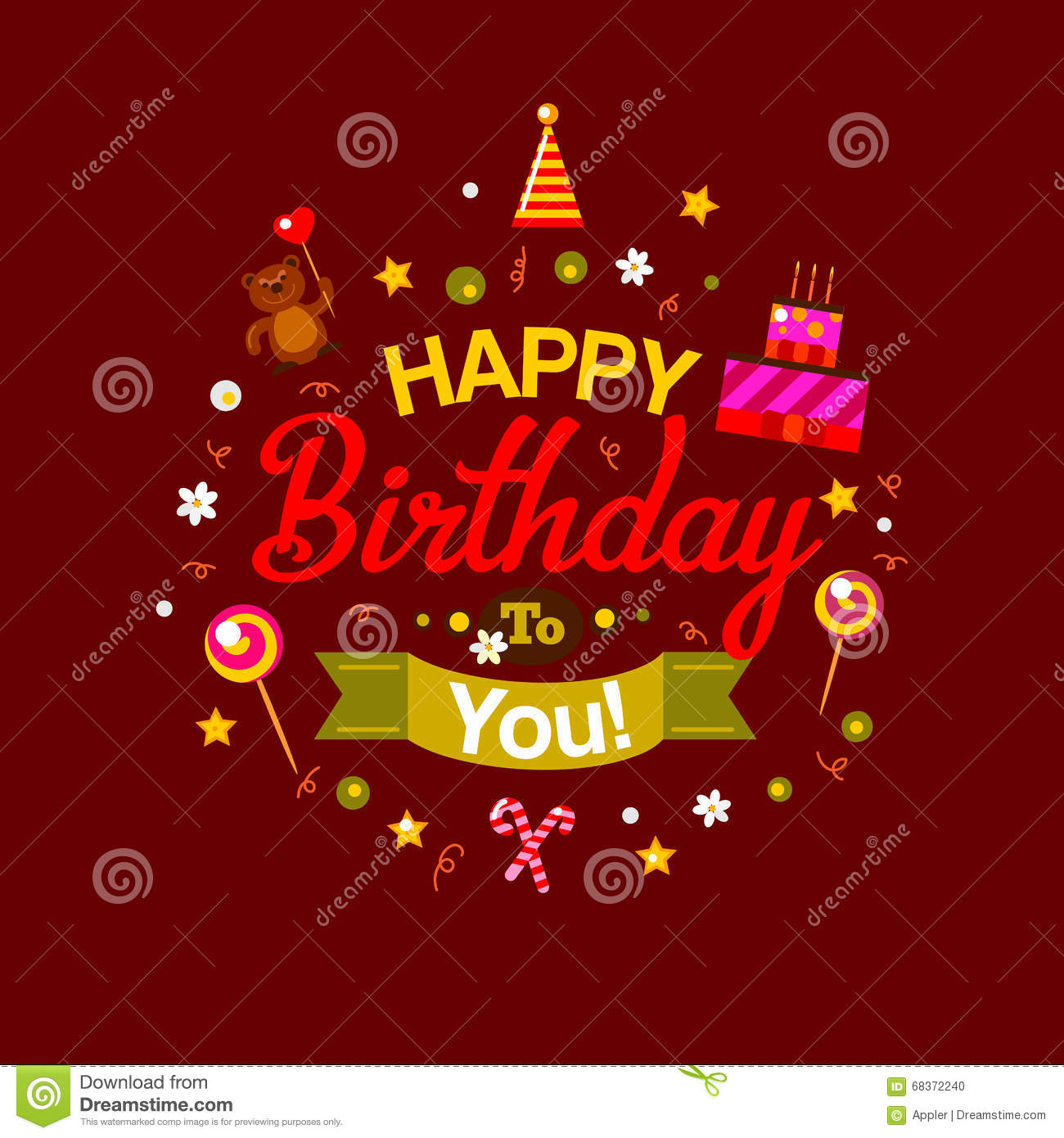 Happy Birthday Kids Card At Chocolate Vector Image 68372240 – Happy Birthday Kids Cards